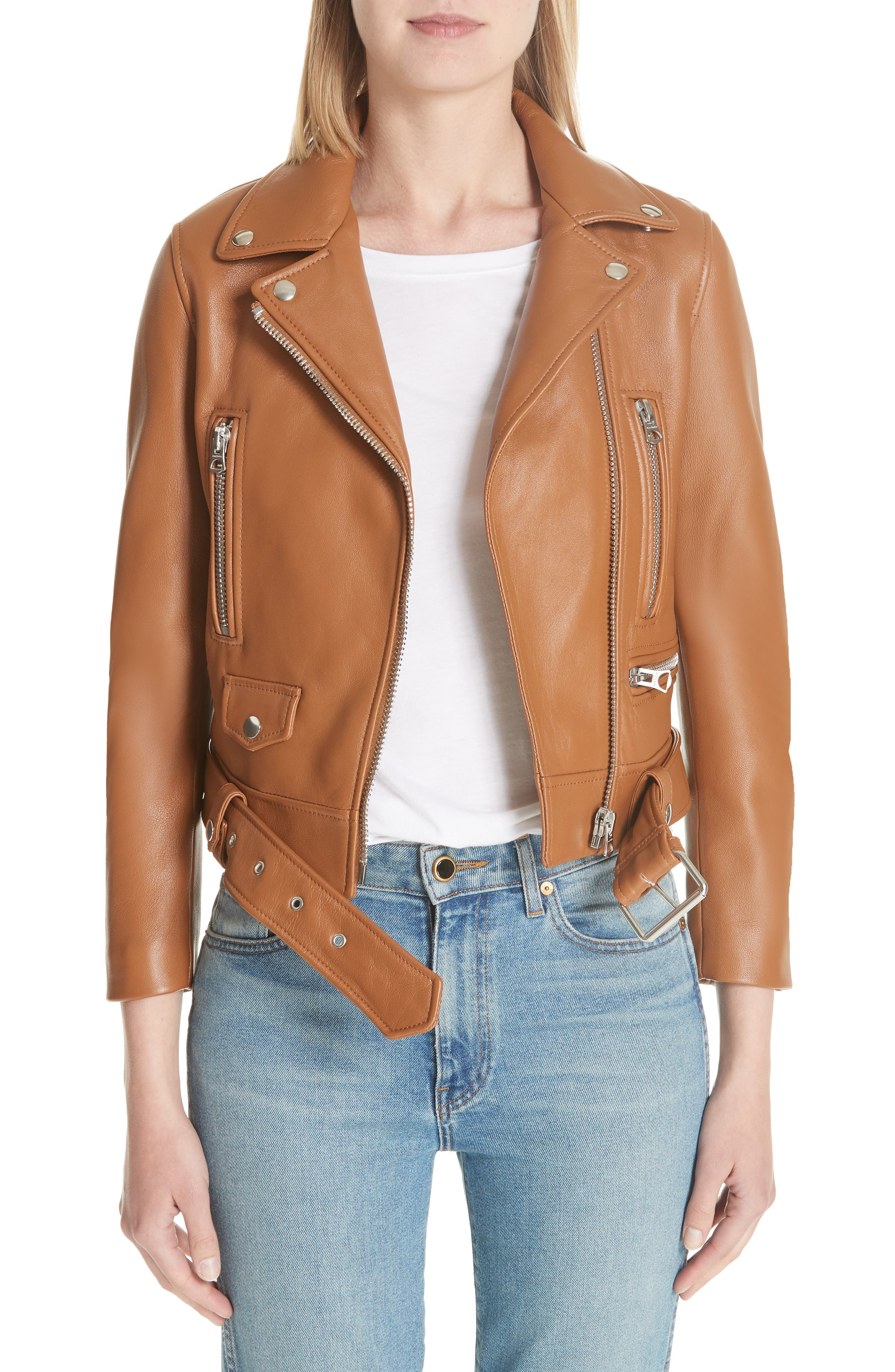 Mock Core Leather Moto Jacket,                         Main,                         color, 200