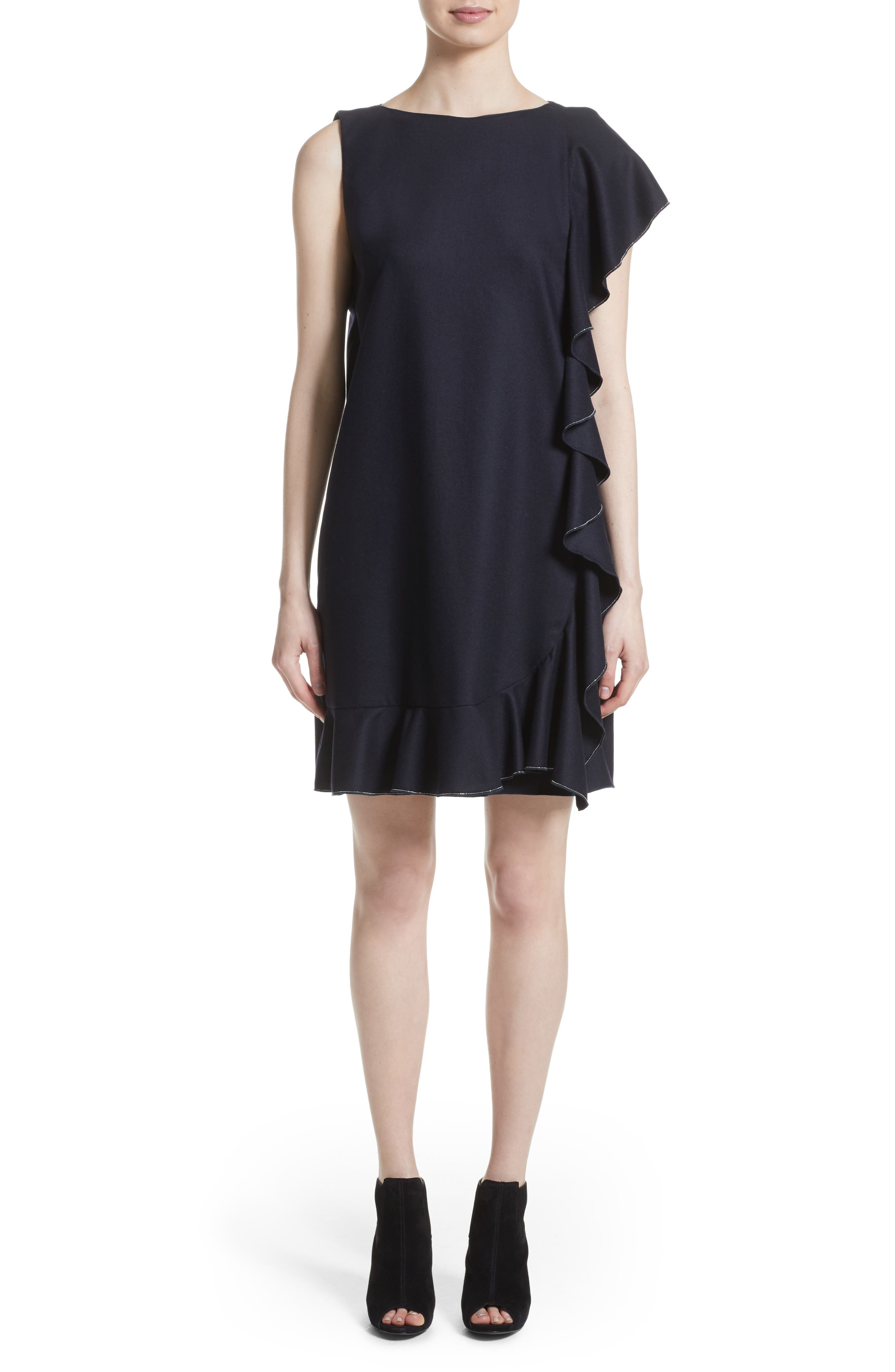 FABIANA FILIPPI,                             Stretch Wool & Cashmere Ruffle Dress,                             Main thumbnail 1, color,                             400