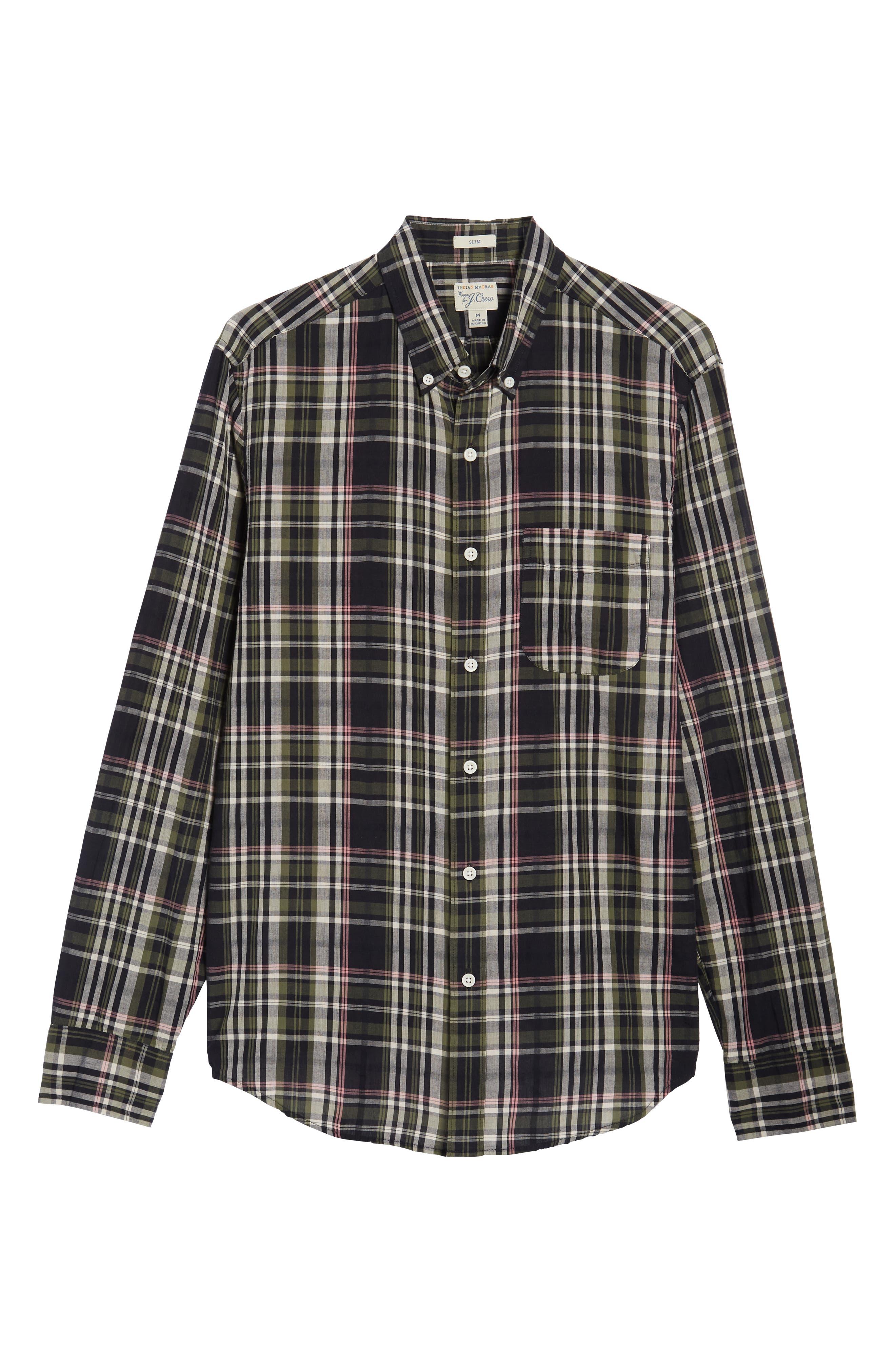 Jerome Slim Fit Plaid Sport Shirt,                             Alternate thumbnail 5, color,