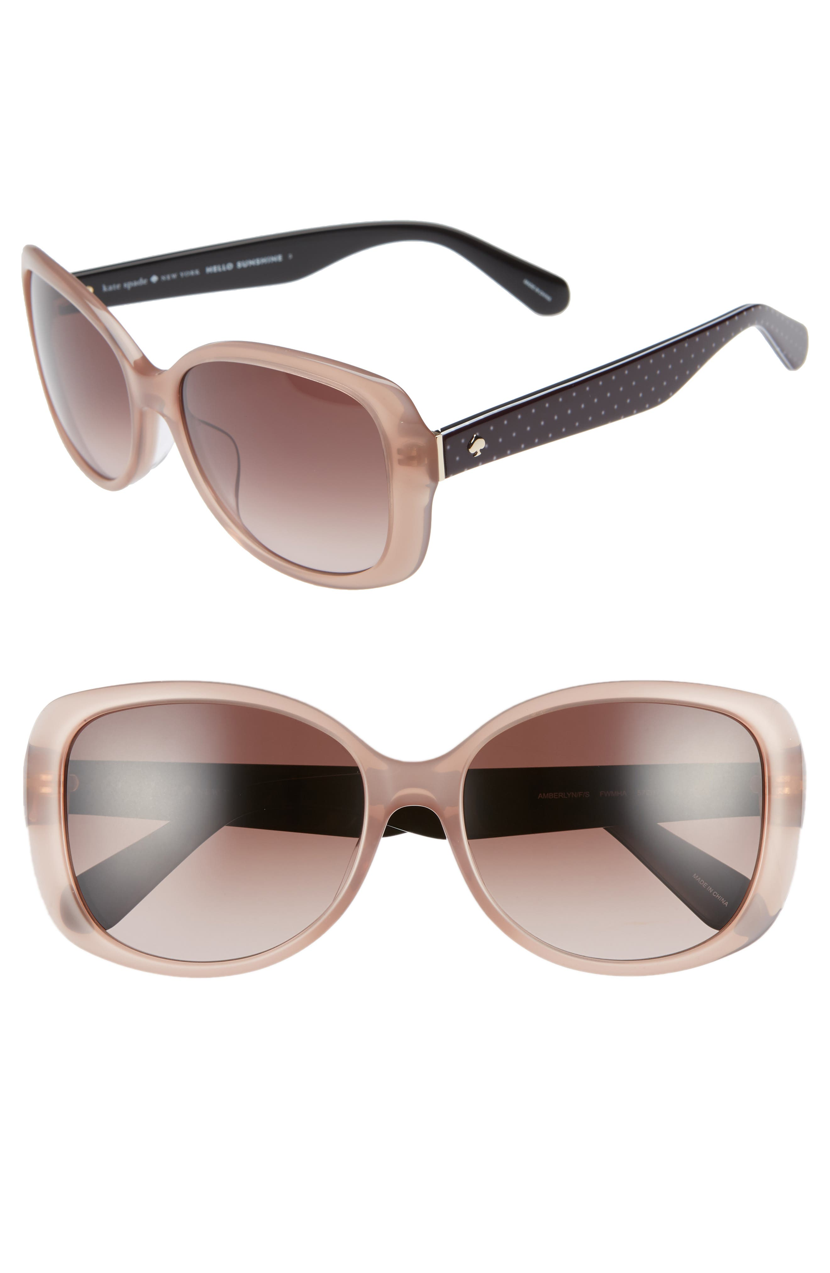 amberlyn 57mm special fit square sunglasses,                             Main thumbnail 1, color,                             NUDE