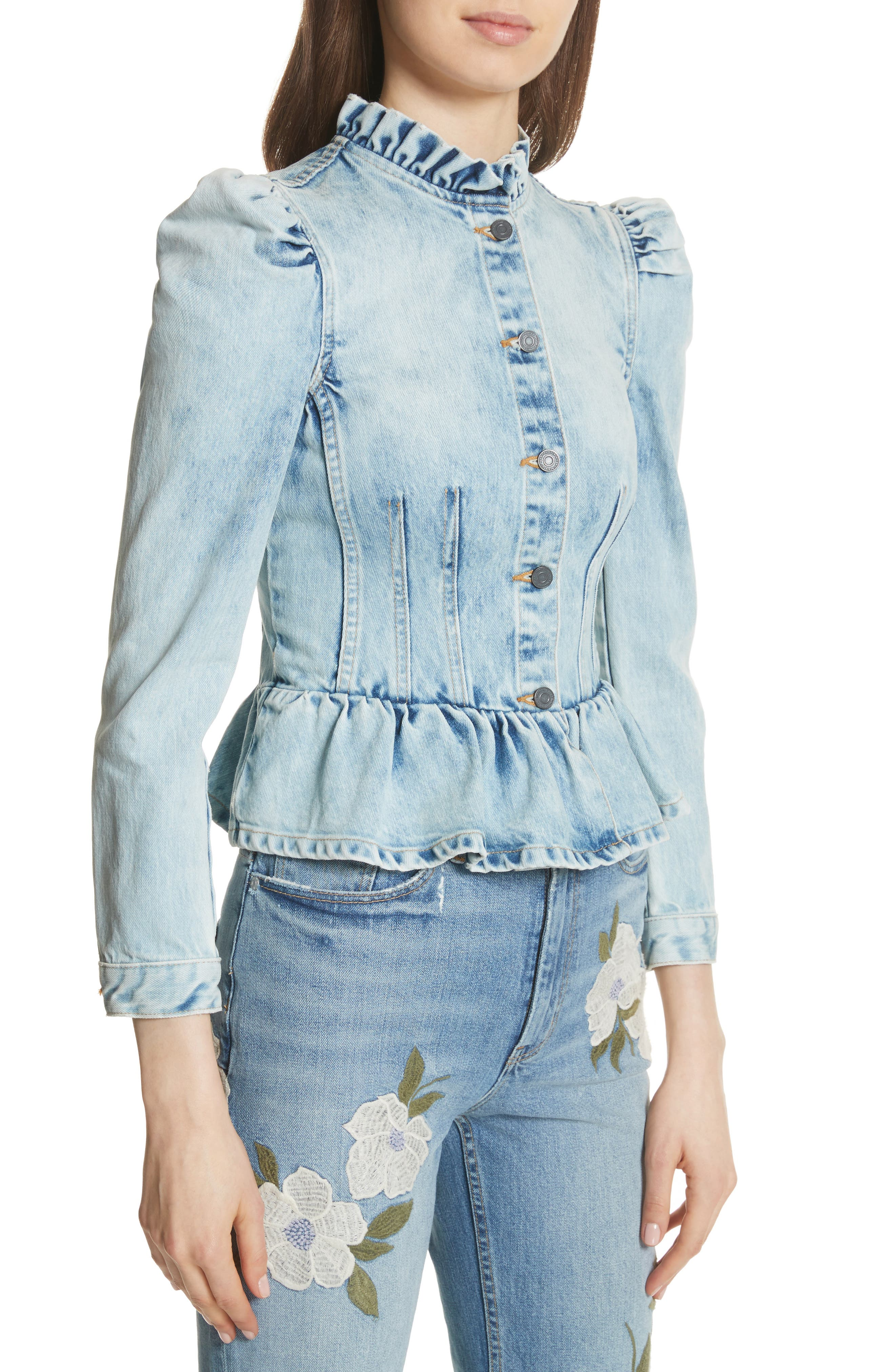 Denim Peplum Jacket,                             Alternate thumbnail 4, color,                             NUAGE WASH
