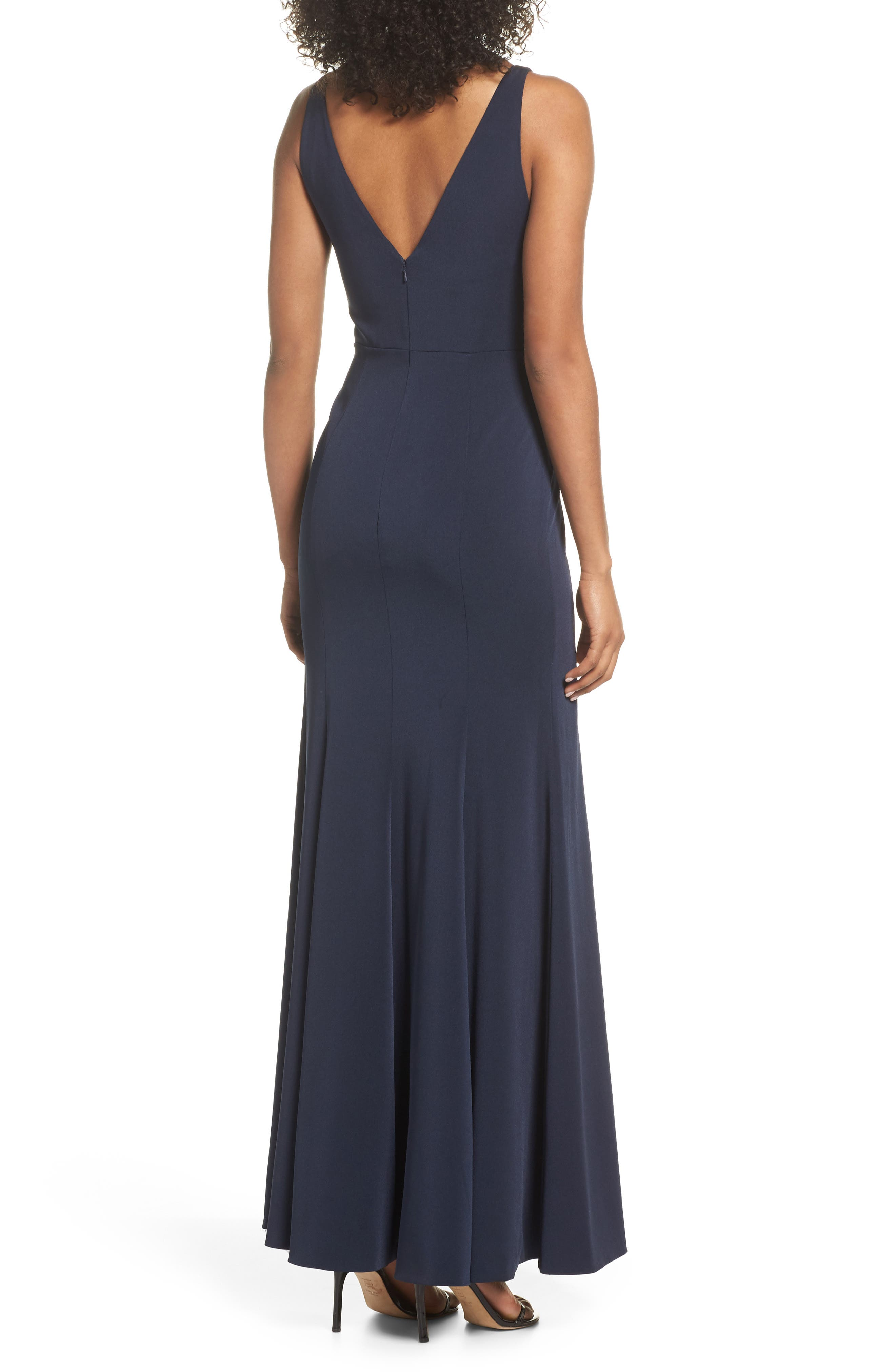Jade Luxe Crepe V-Neck Gown,                             Alternate thumbnail 2, color,                             MIDNIGHT