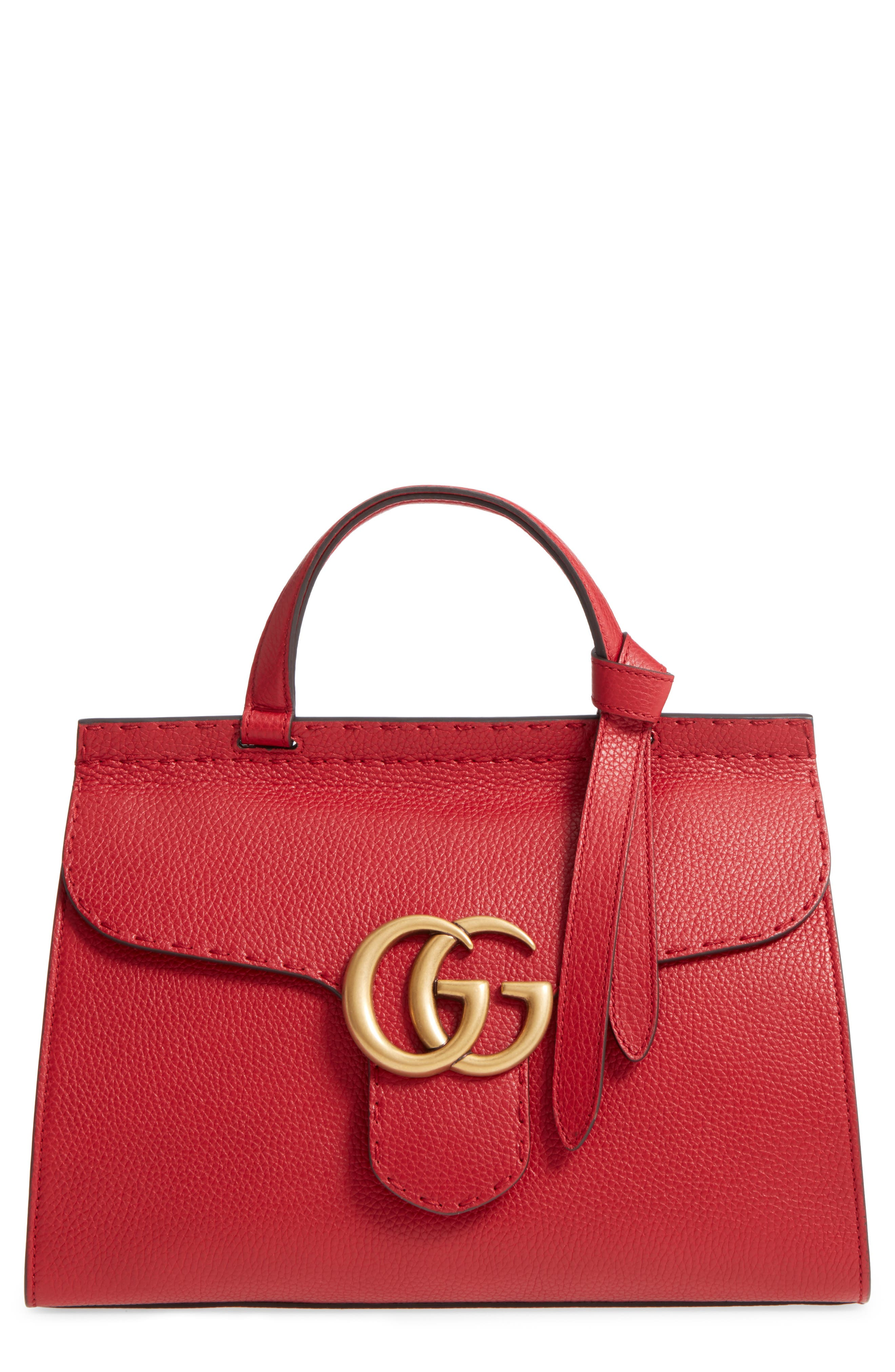 GG Marmont Top Handle Leather Satchel,                         Main,                         color, 621