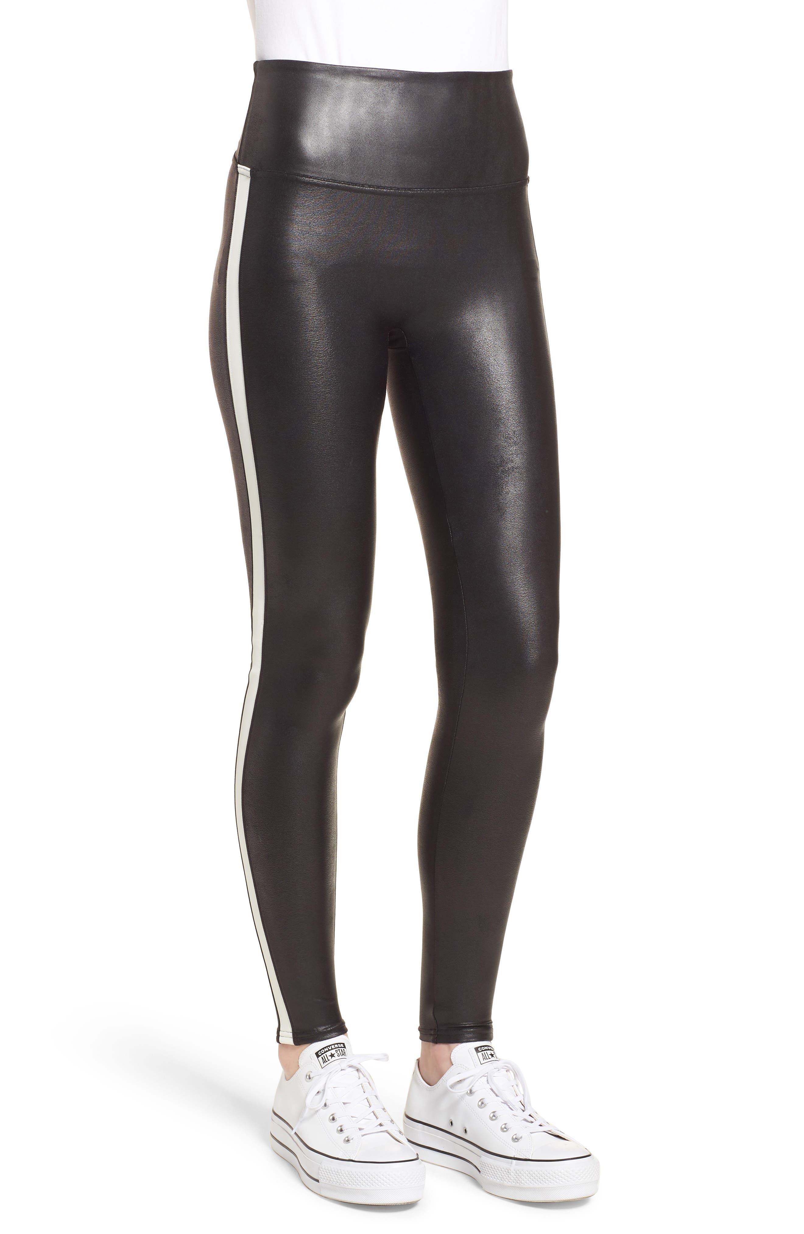 Side Stripe Faux Leather Leggings,                             Alternate thumbnail 3, color,                             VERY BLACK/ WHT
