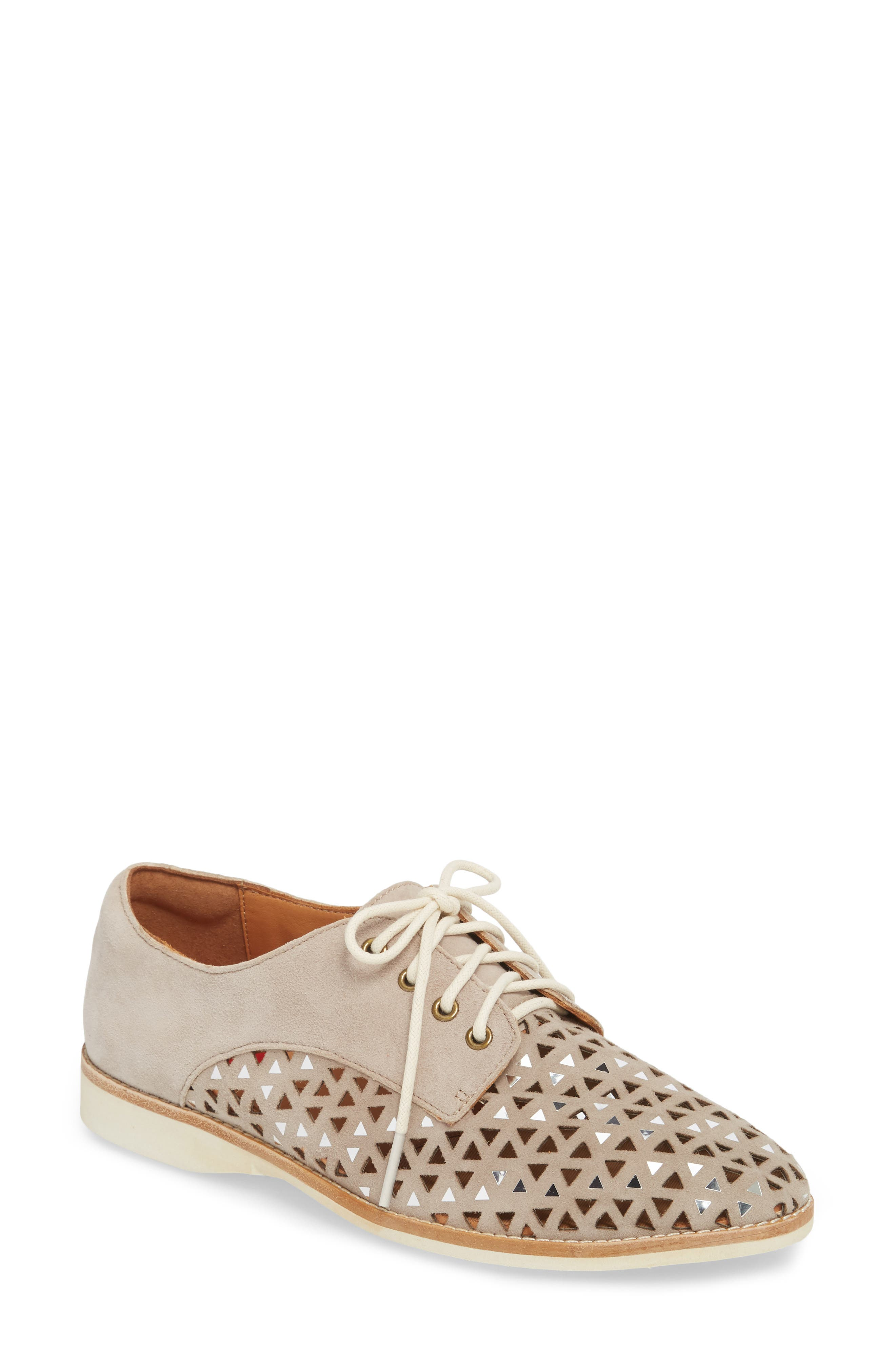 Triangle Perforated Derby,                             Main thumbnail 1, color,                             LIGHT TAUPE SUEDE