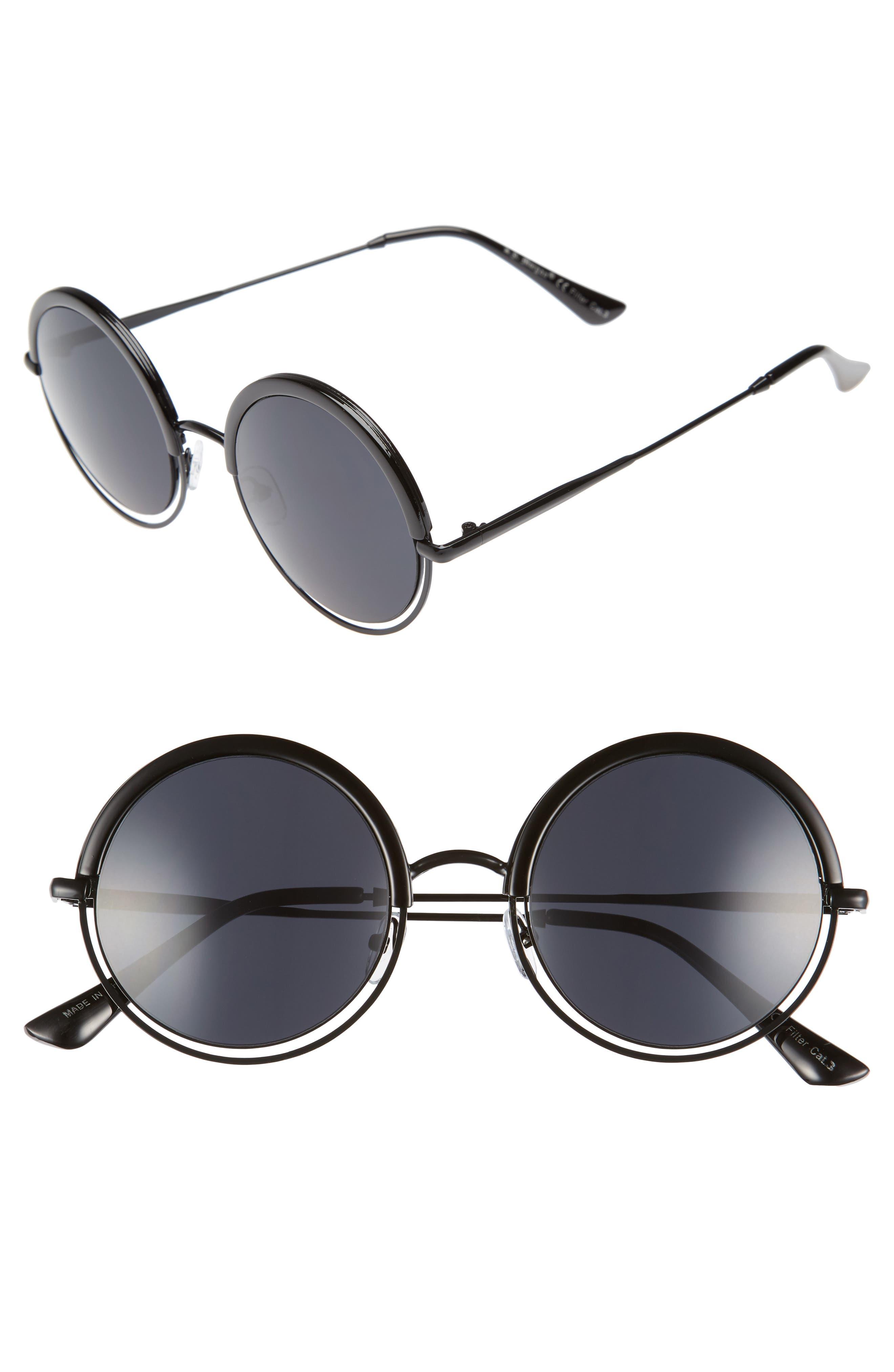 A.J. MORGAN,                             Pancakes 52mm Gradient Lens Round Sunglasses,                             Main thumbnail 1, color,                             001
