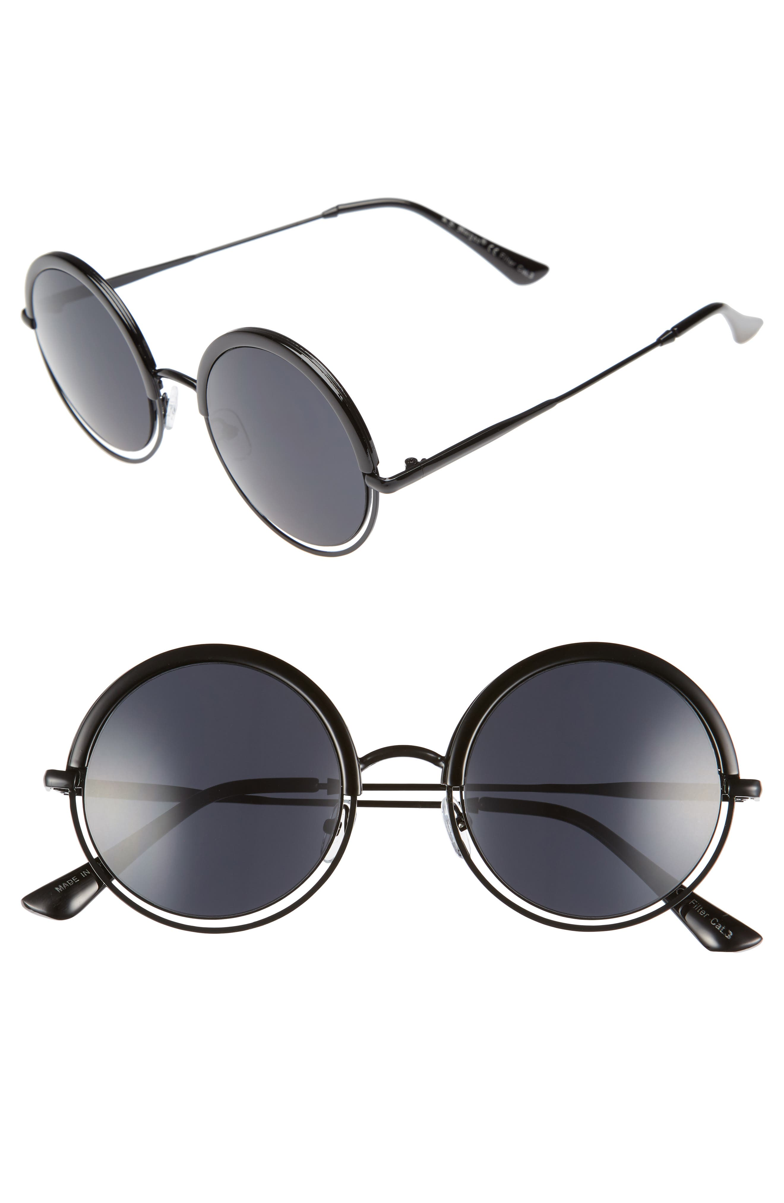 A.J. MORGAN Pancakes 52mm Gradient Lens Round Sunglasses, Main, color, 001
