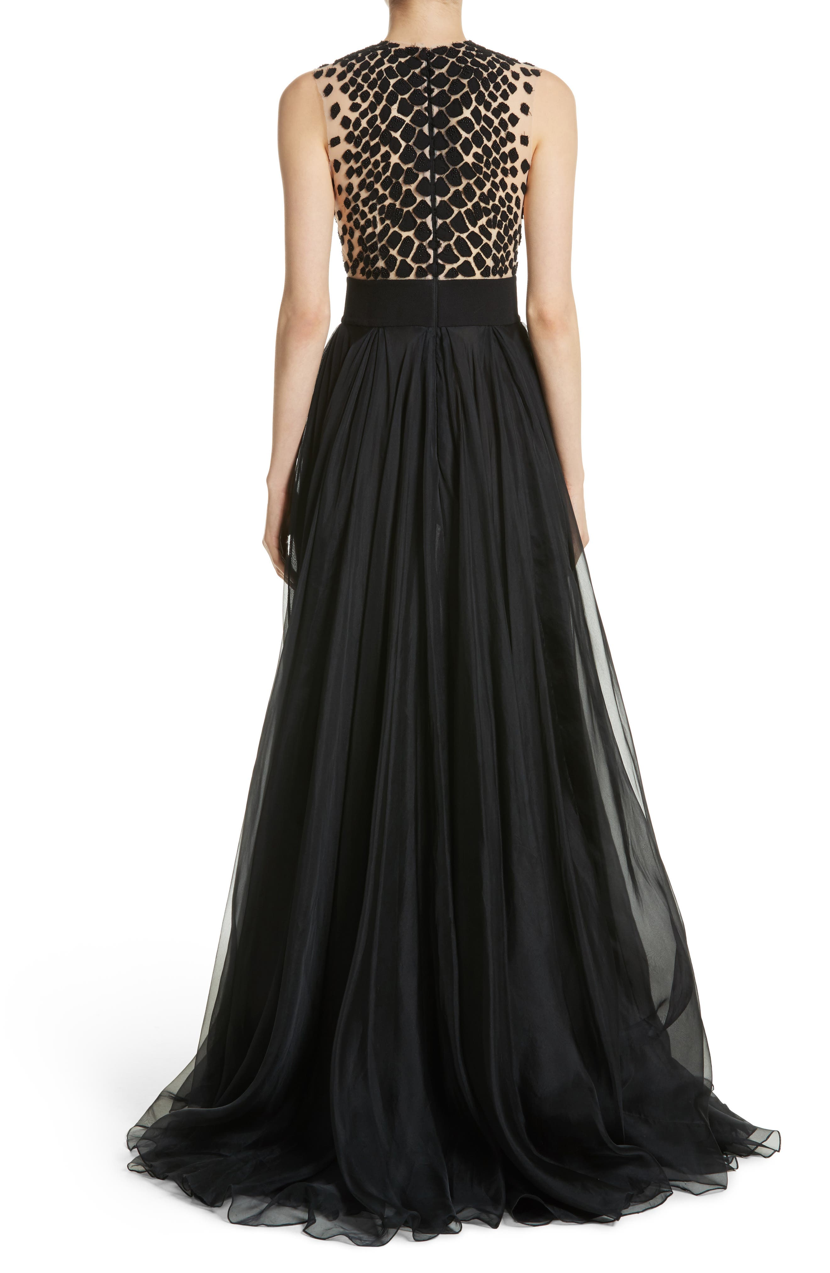 Carmen Marc Valvo Embroidered Organza Gown,                             Alternate thumbnail 2, color,                             BLACK