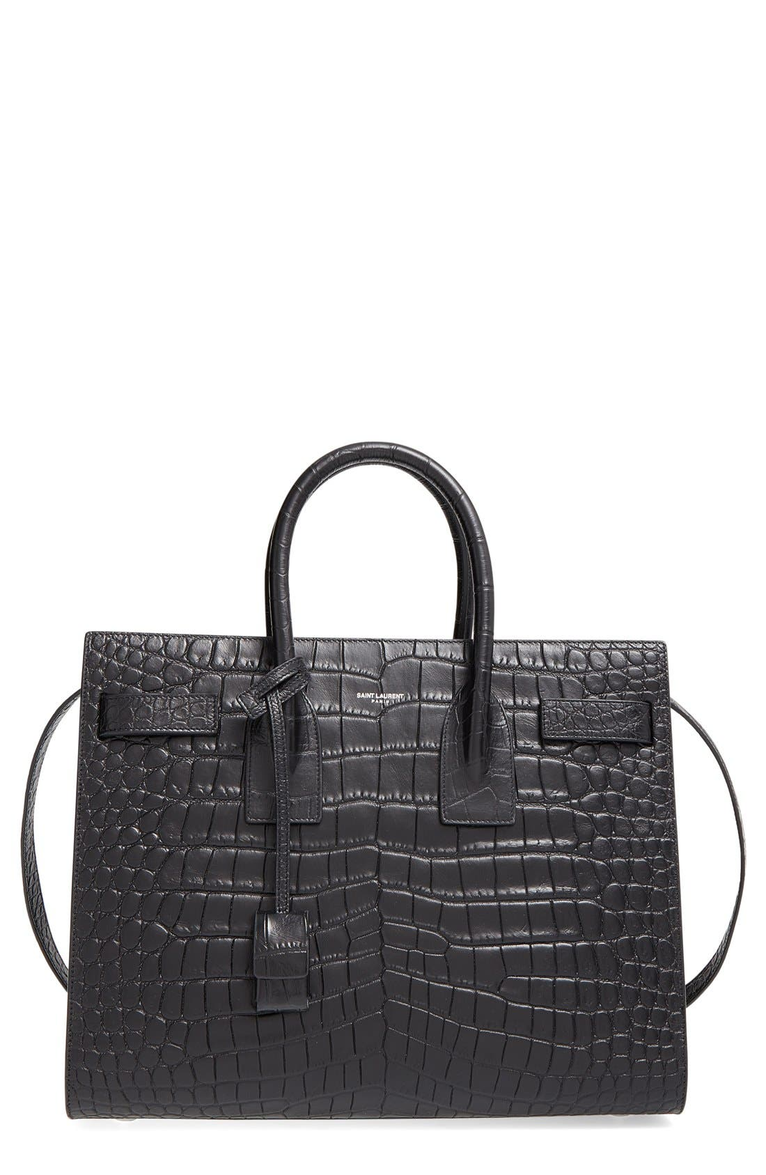 'Small Sac de Jour' Croc Embossed Leather Tote,                             Main thumbnail 1, color,                             NOIR