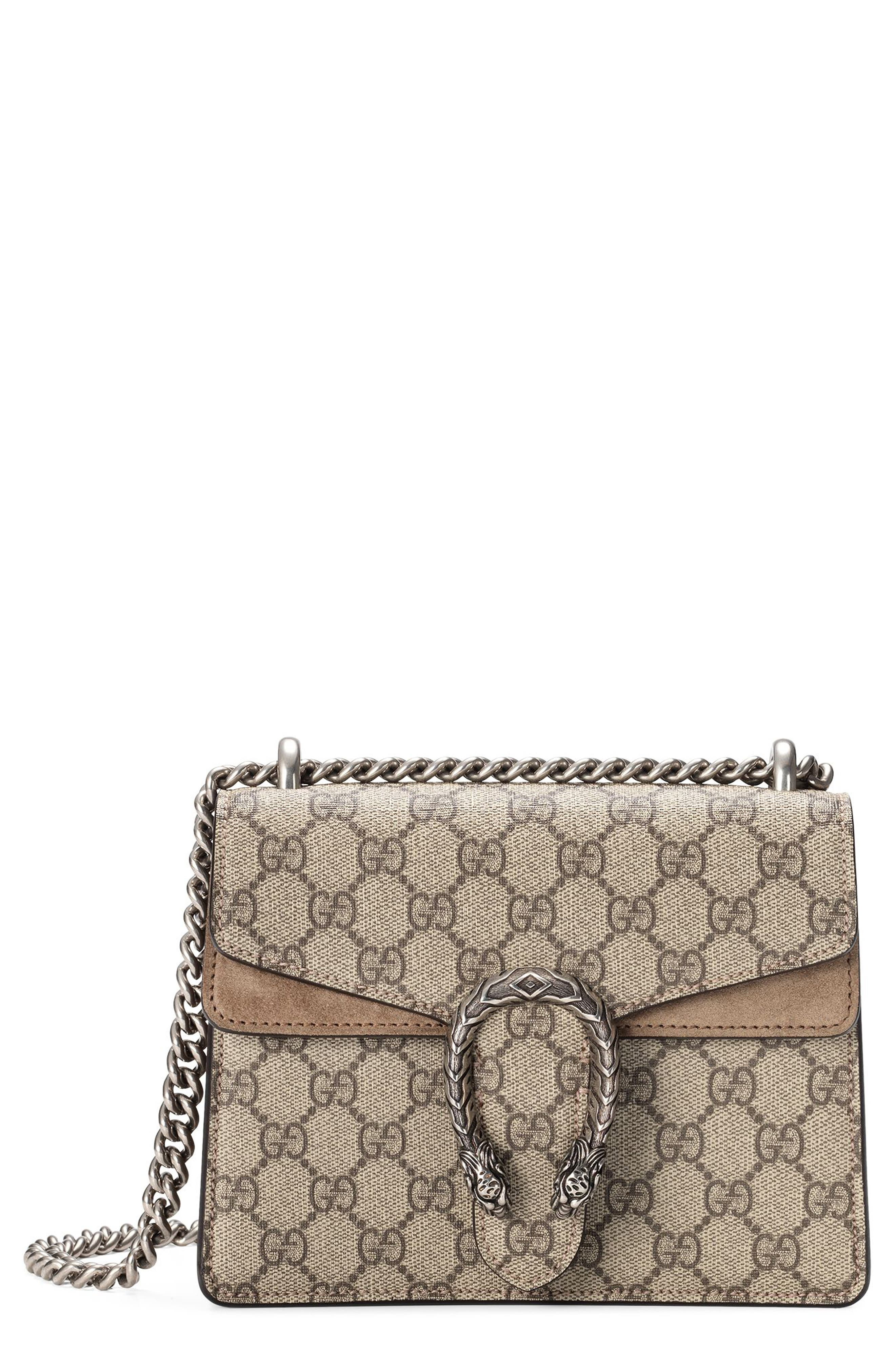 GUCCI,                             Mini Dionysus GG Supreme Shoulder Bag,                             Main thumbnail 1, color,                             BEIGE EBONY/ TAUPE