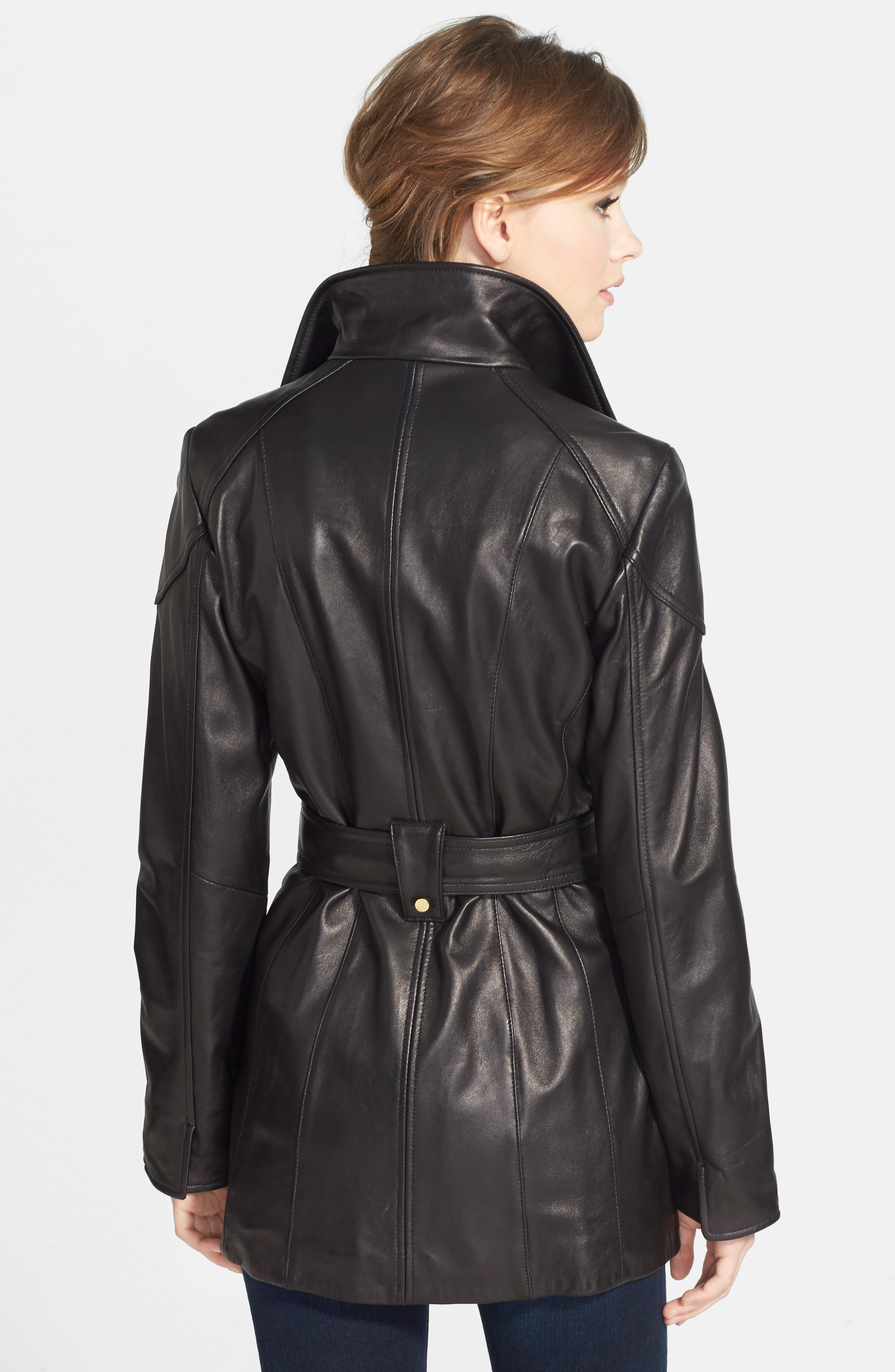 Leather Trench Jacket,                             Alternate thumbnail 5, color,