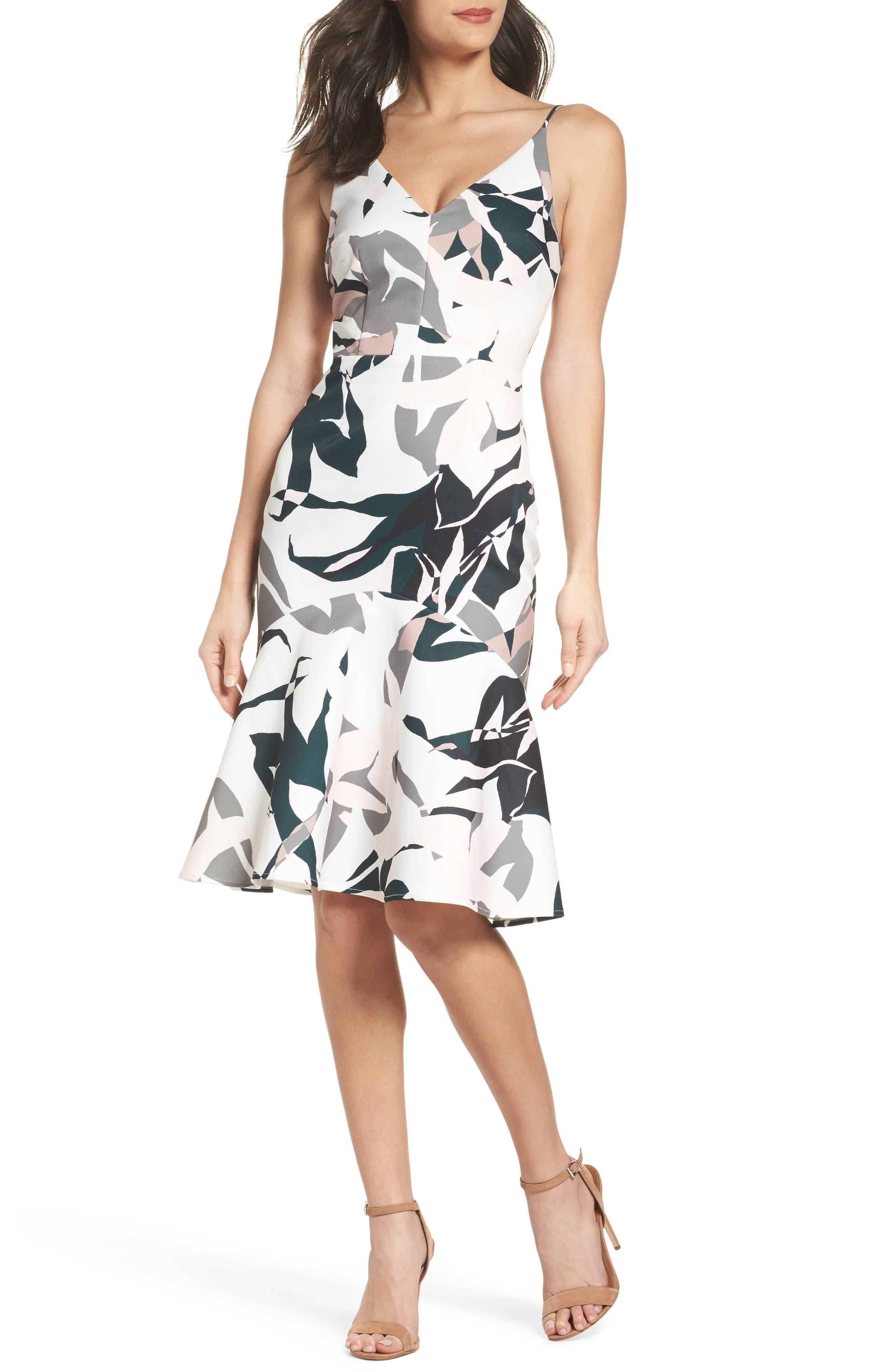 Leaf Dancer Ruffle Hem Dress,                         Main,                         color, 100