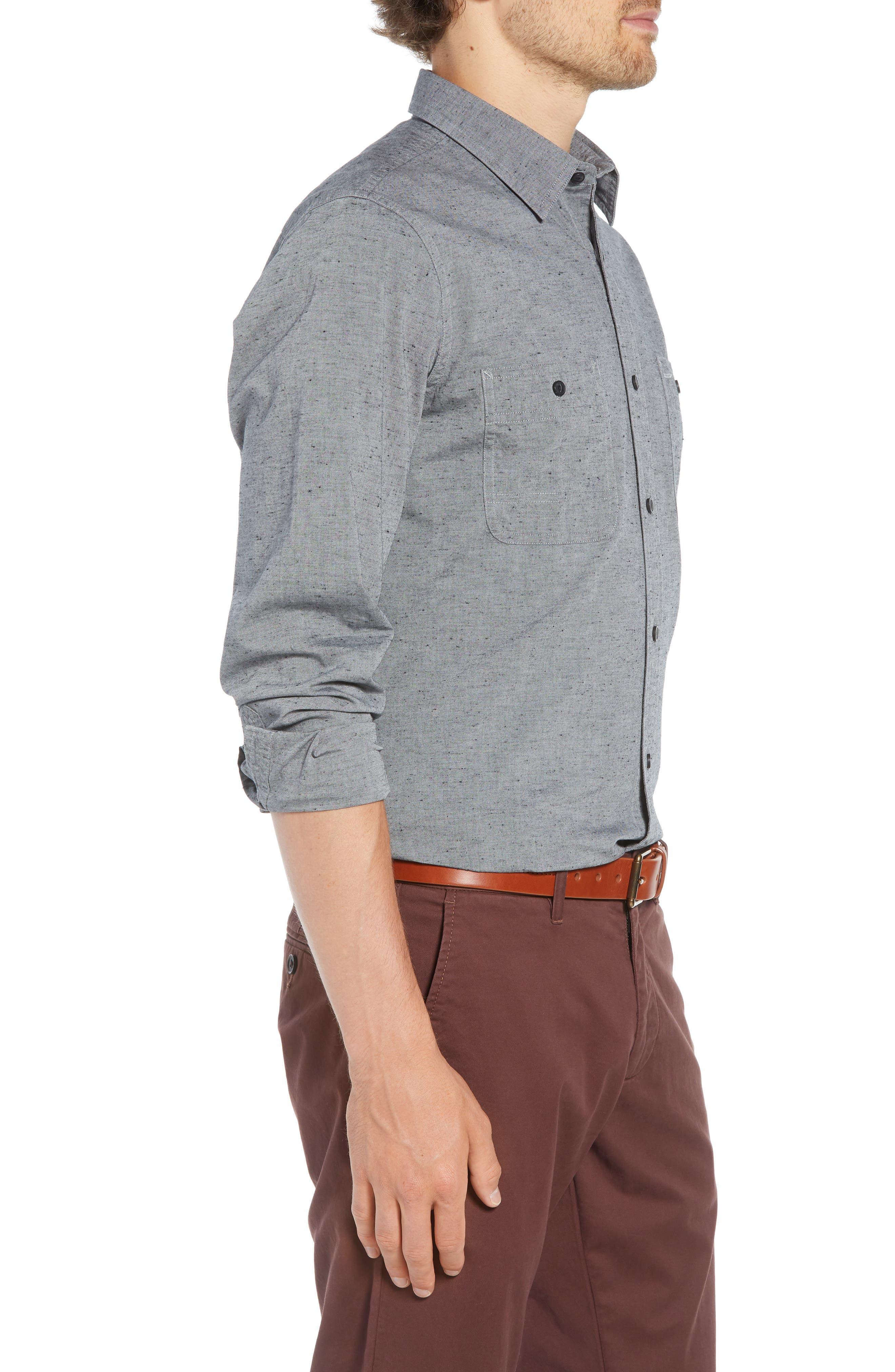 Workwear Chambray Sport Shirt,                             Alternate thumbnail 3, color,                             GREY ONYX NEP CHAMBRAY