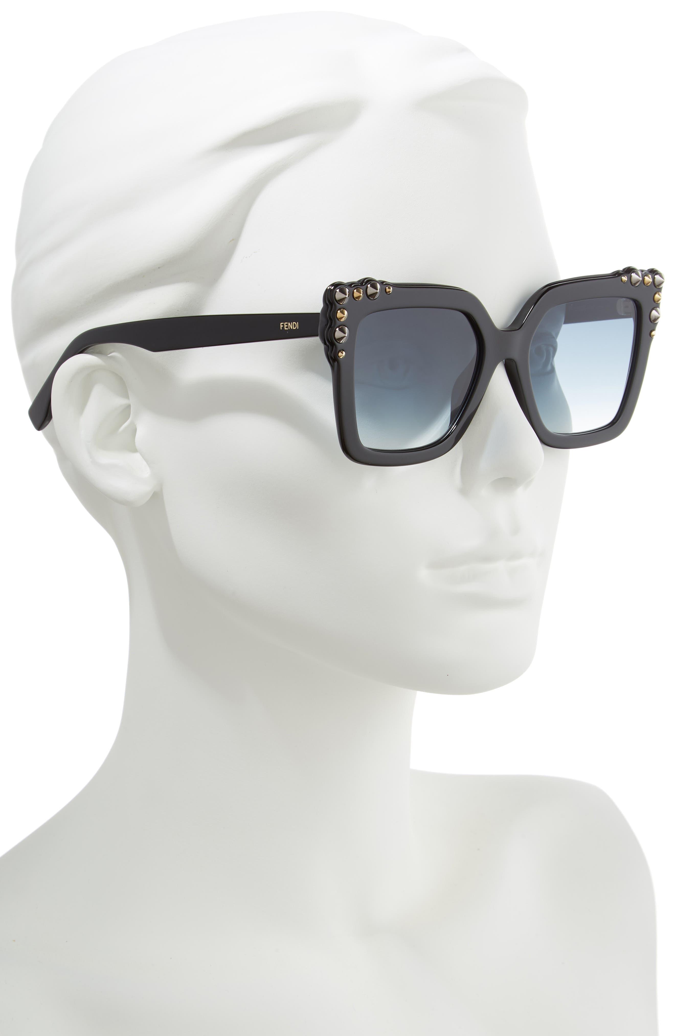 52mm Gradient Cat Eye Sunglasses,                             Alternate thumbnail 2, color,                             002
