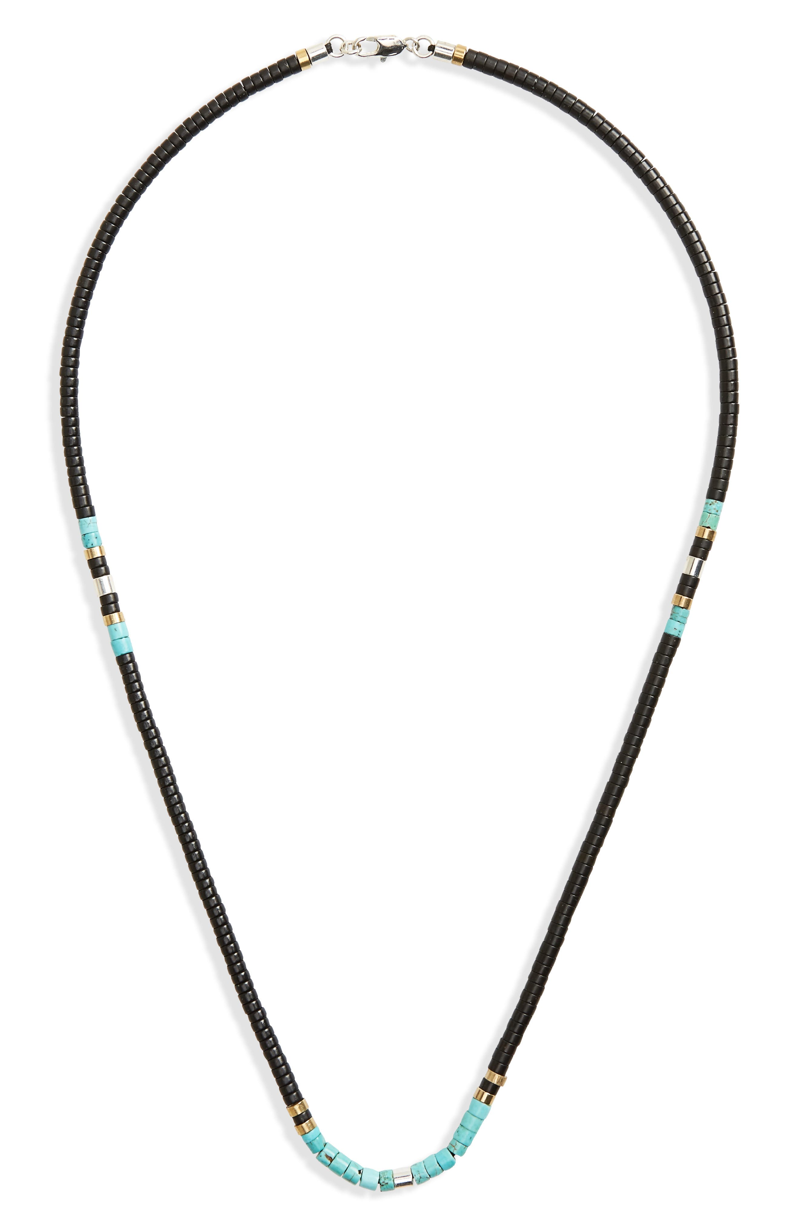 Disc Turquoise Bead Necklace,                         Main,                         color, 001