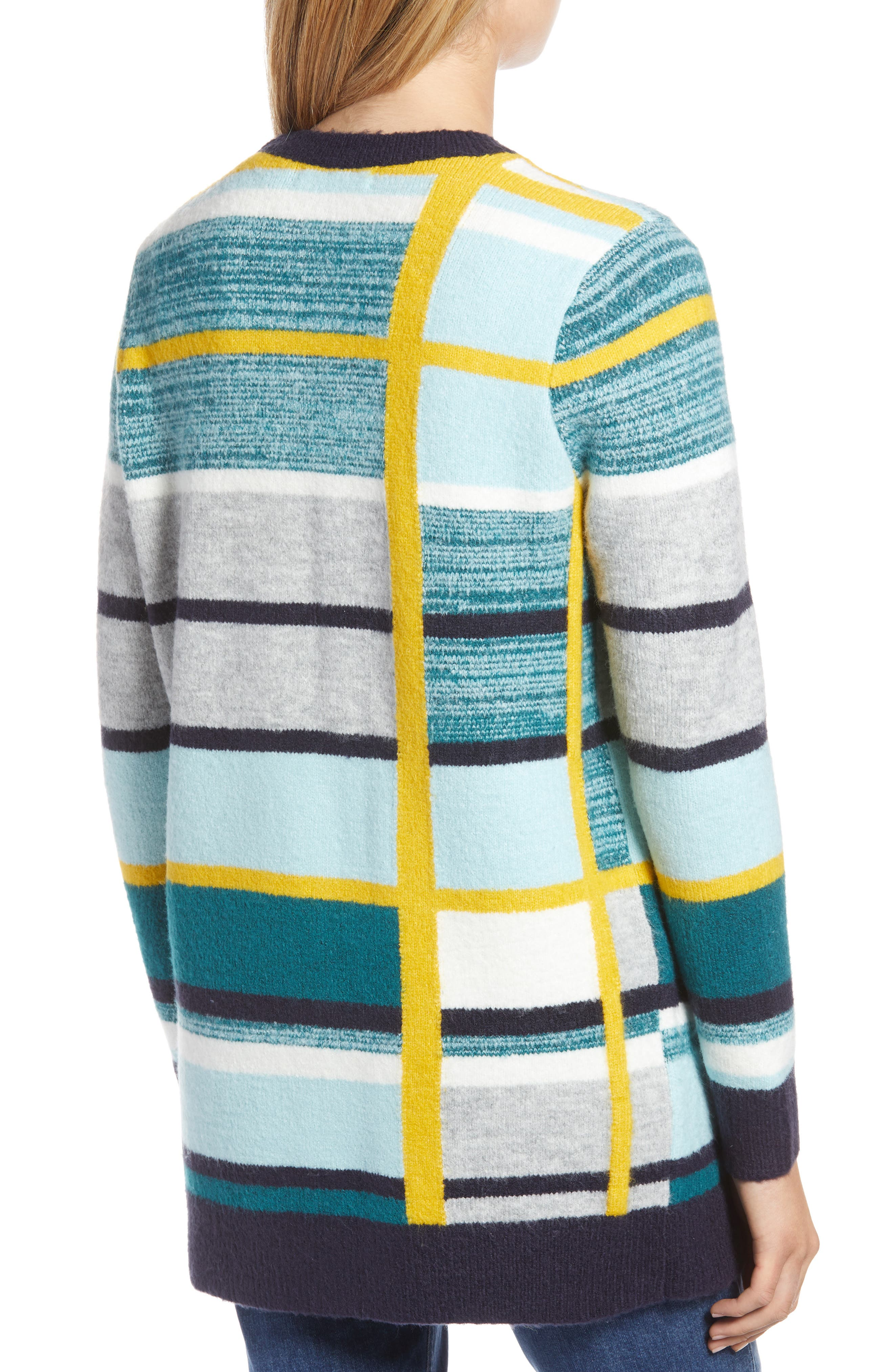 Abstract Plaid Button Front Cardigan Sweater,                             Alternate thumbnail 2, color,                             TEAL ABSTRACT PLAID