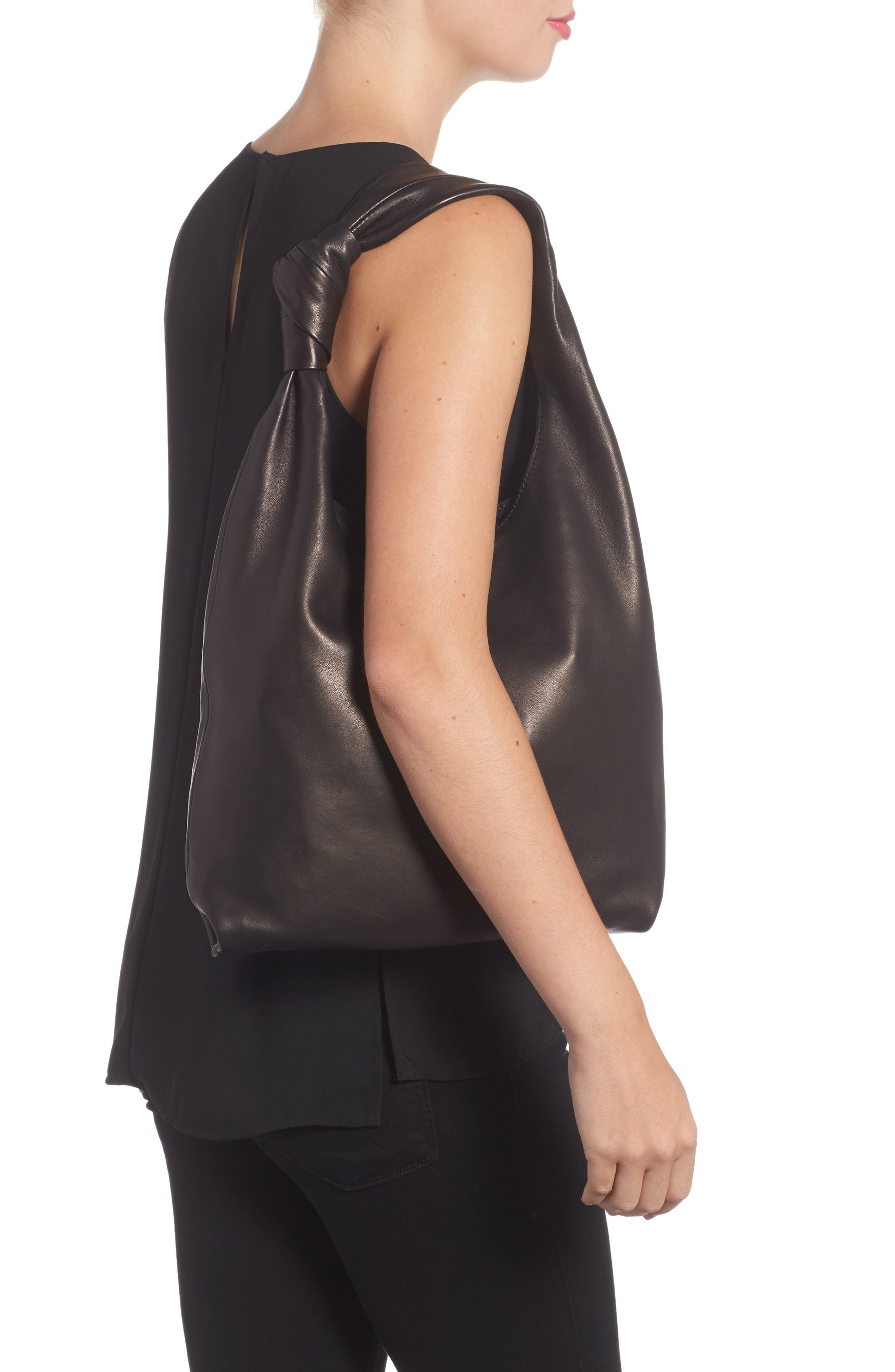 Knot Leather Tote,                             Alternate thumbnail 2, color,                             001