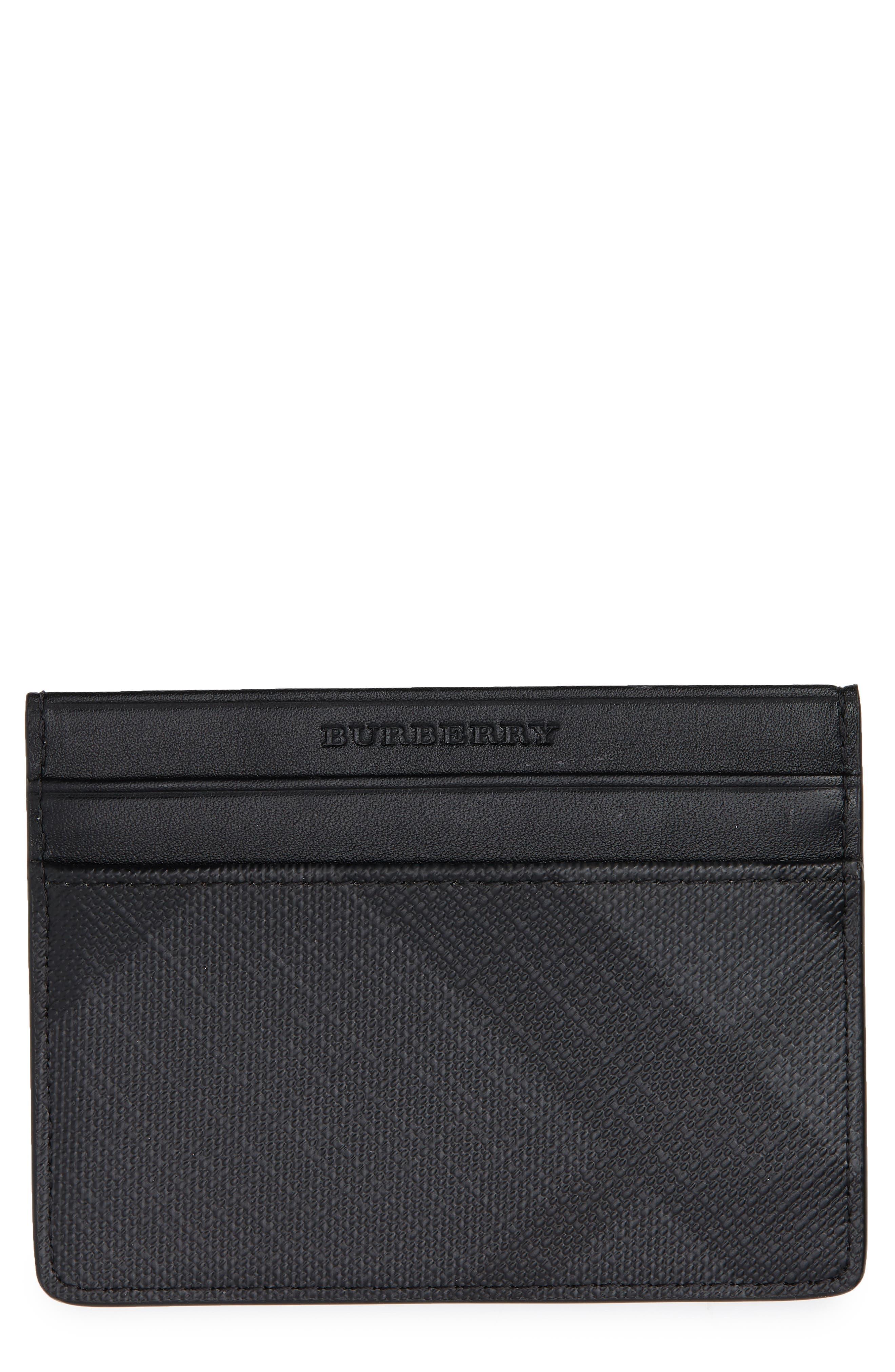 Sandon Check Faux Leather Card Case,                             Main thumbnail 1, color,                             CHARCOAL/ BLACK