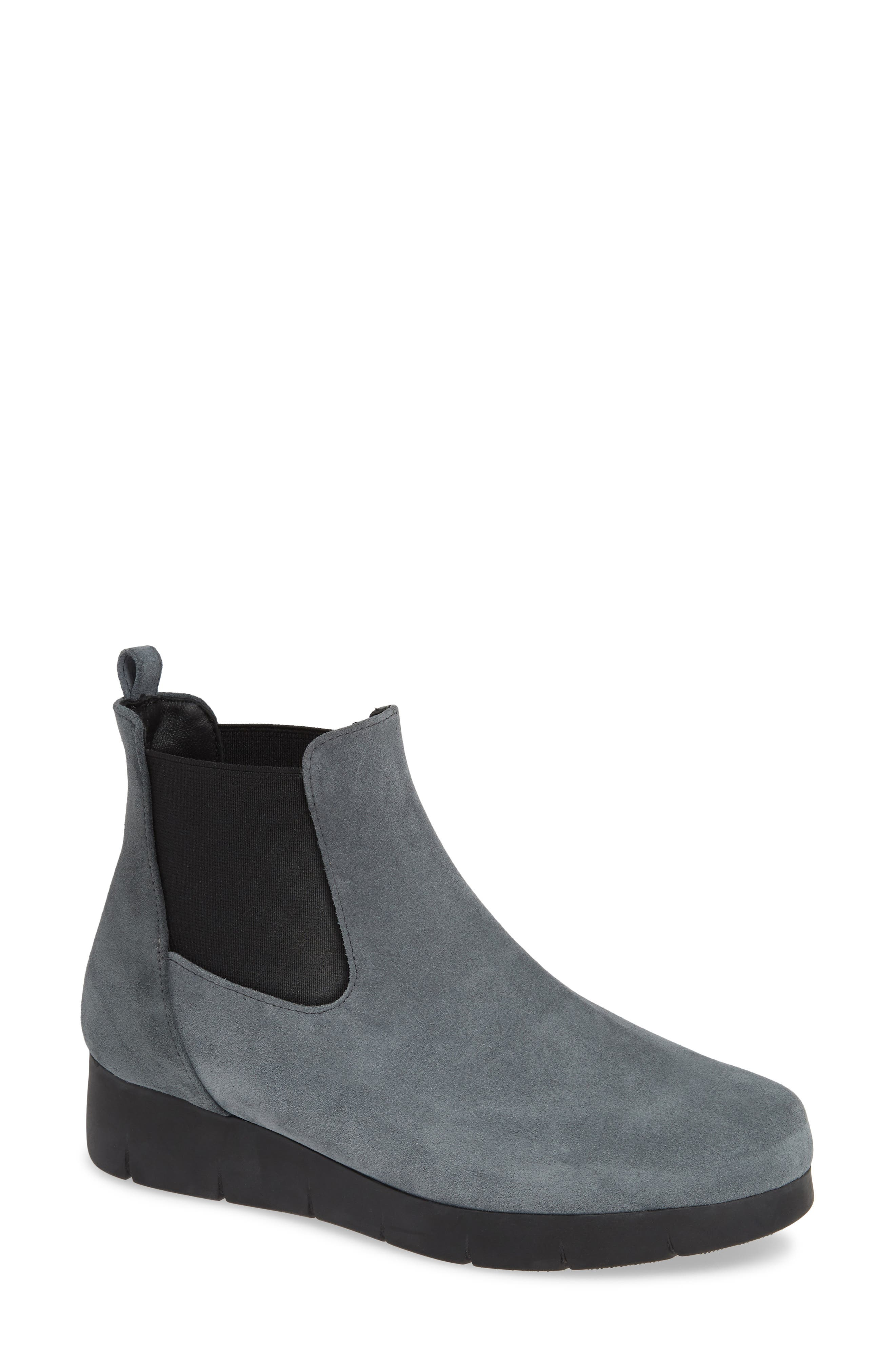 Aimee Water Resistant Chelsea Bootie,                             Main thumbnail 1, color,                             GREY SUEDE