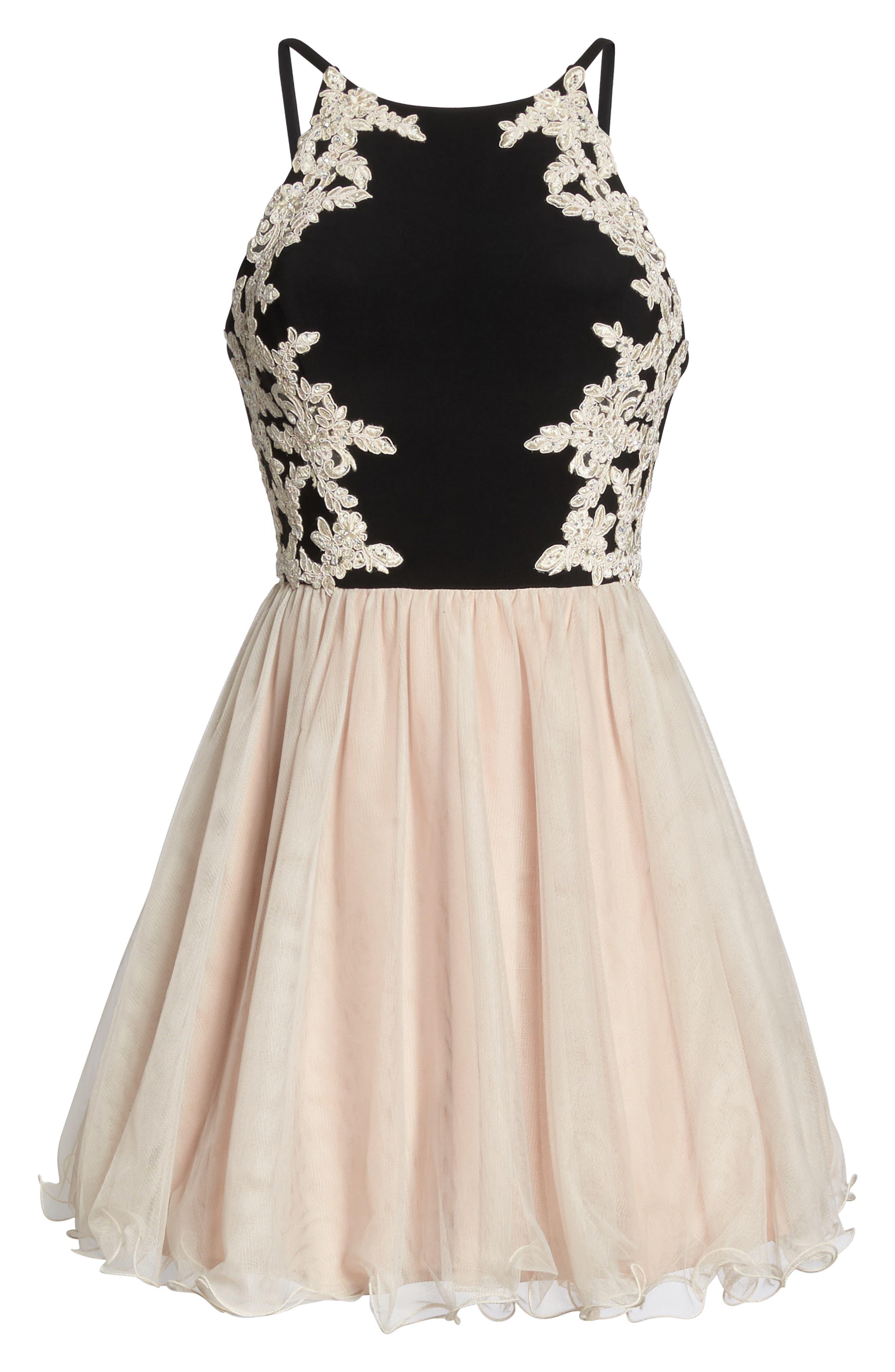 Appliqué Fit & Flare Dress,                             Alternate thumbnail 6, color,                             296