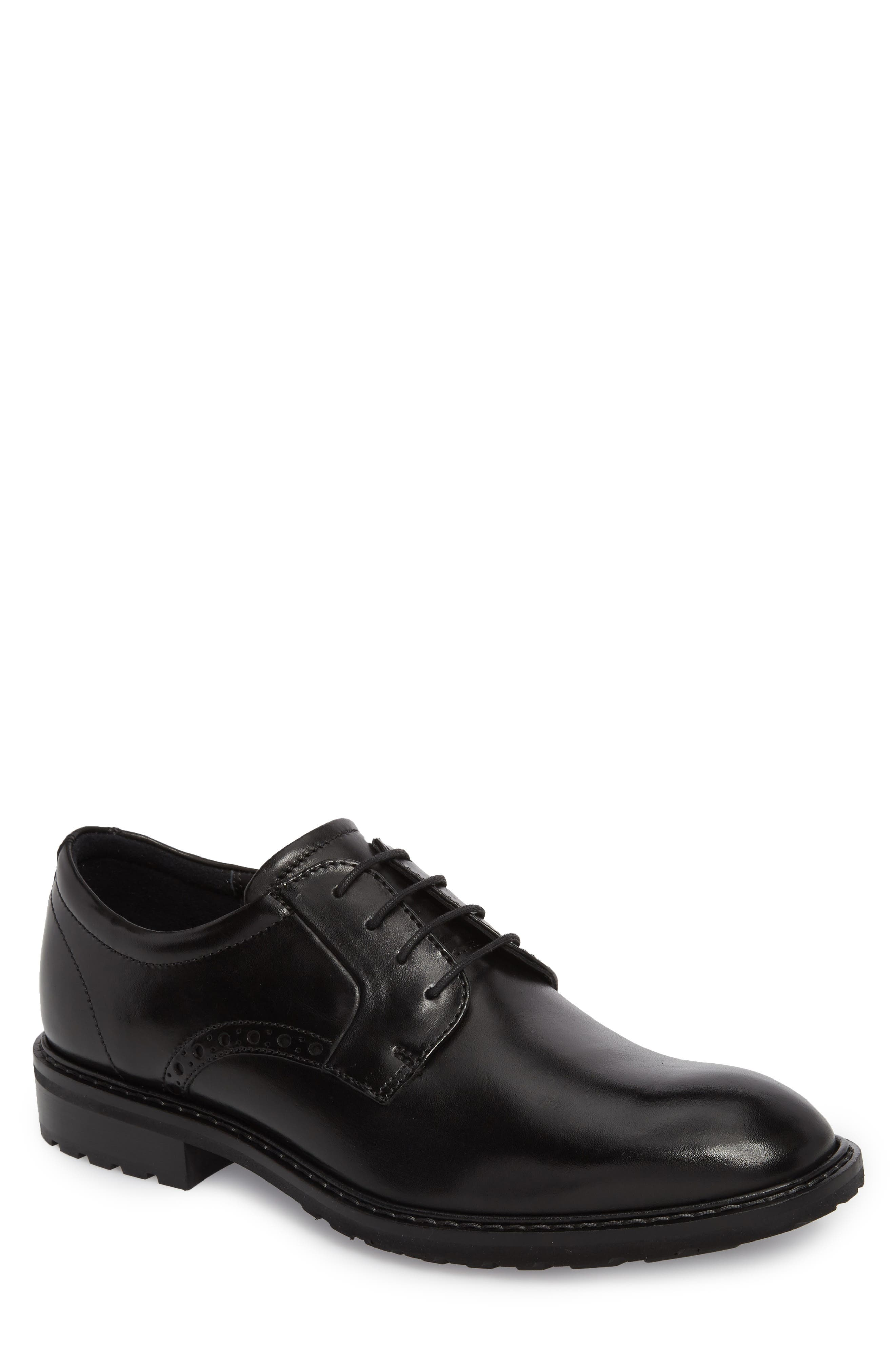 Vitrus I Plain Toe Derby,                             Main thumbnail 1, color,                             BLACK LEATHER