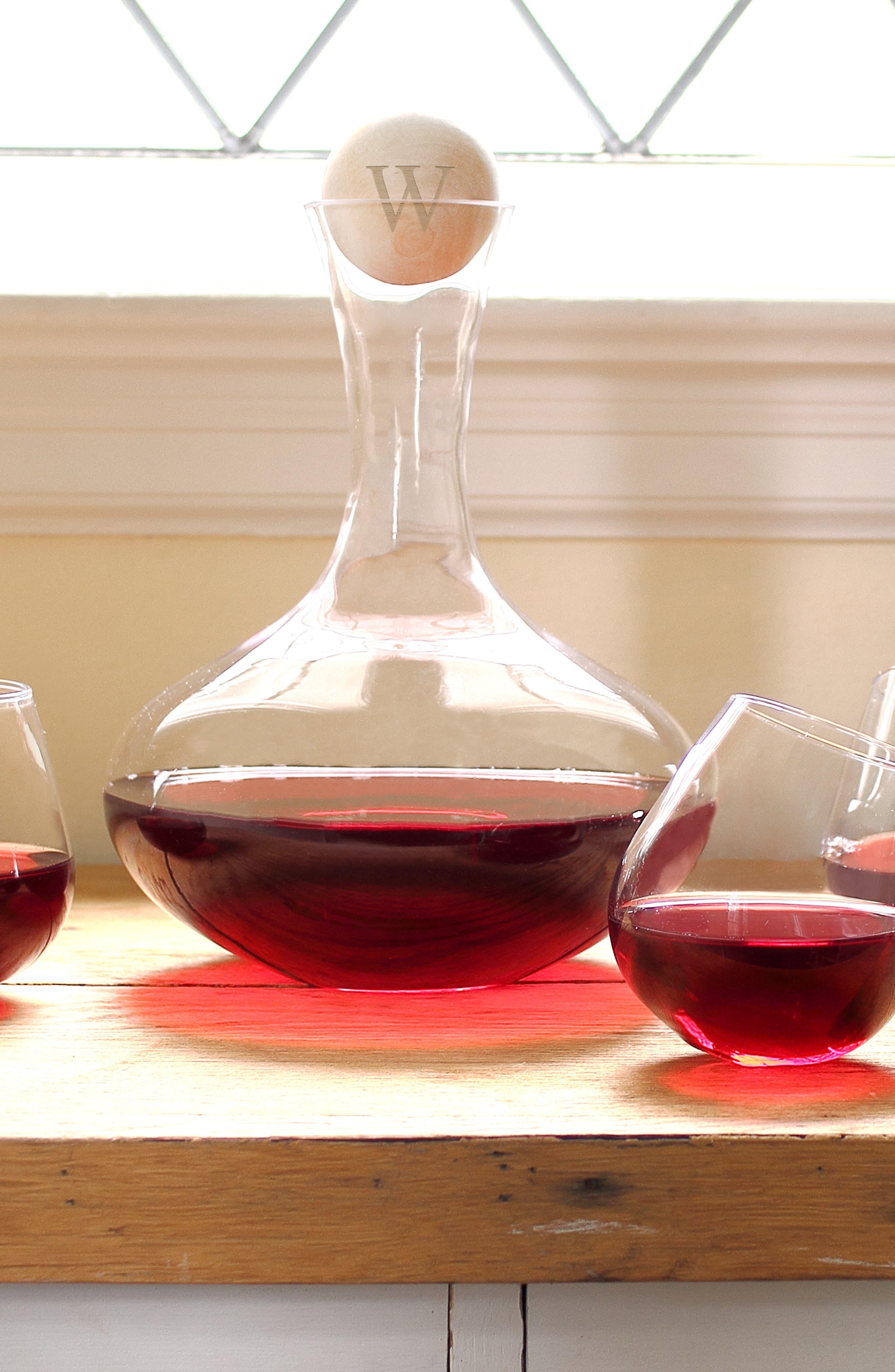 'Tipsy' Monogram Wine Decanter & Stemless Glasses,                             Alternate thumbnail 4, color,                             BLANK