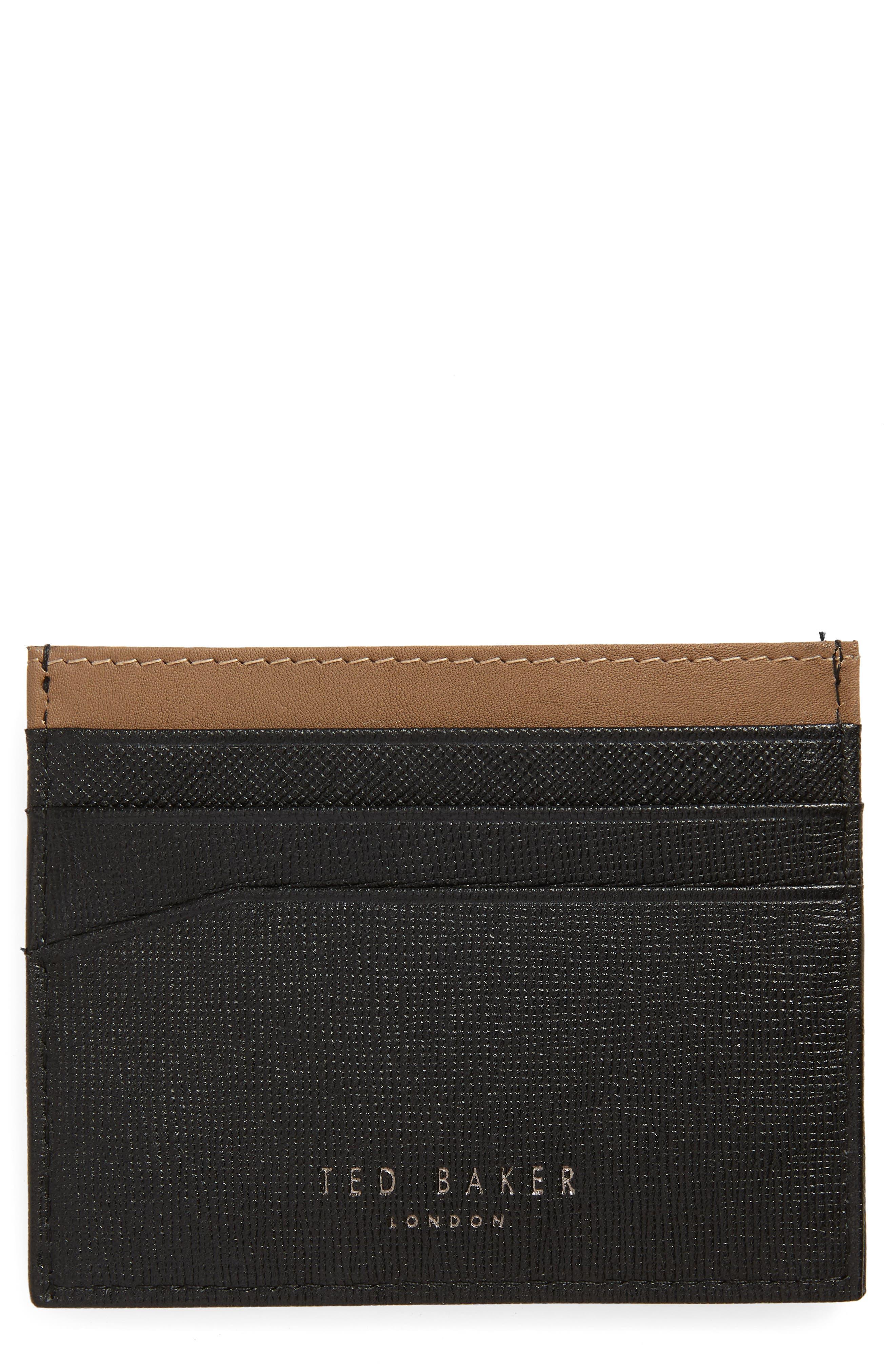 Stripe Leather Card Case,                         Main,                         color, BLACK