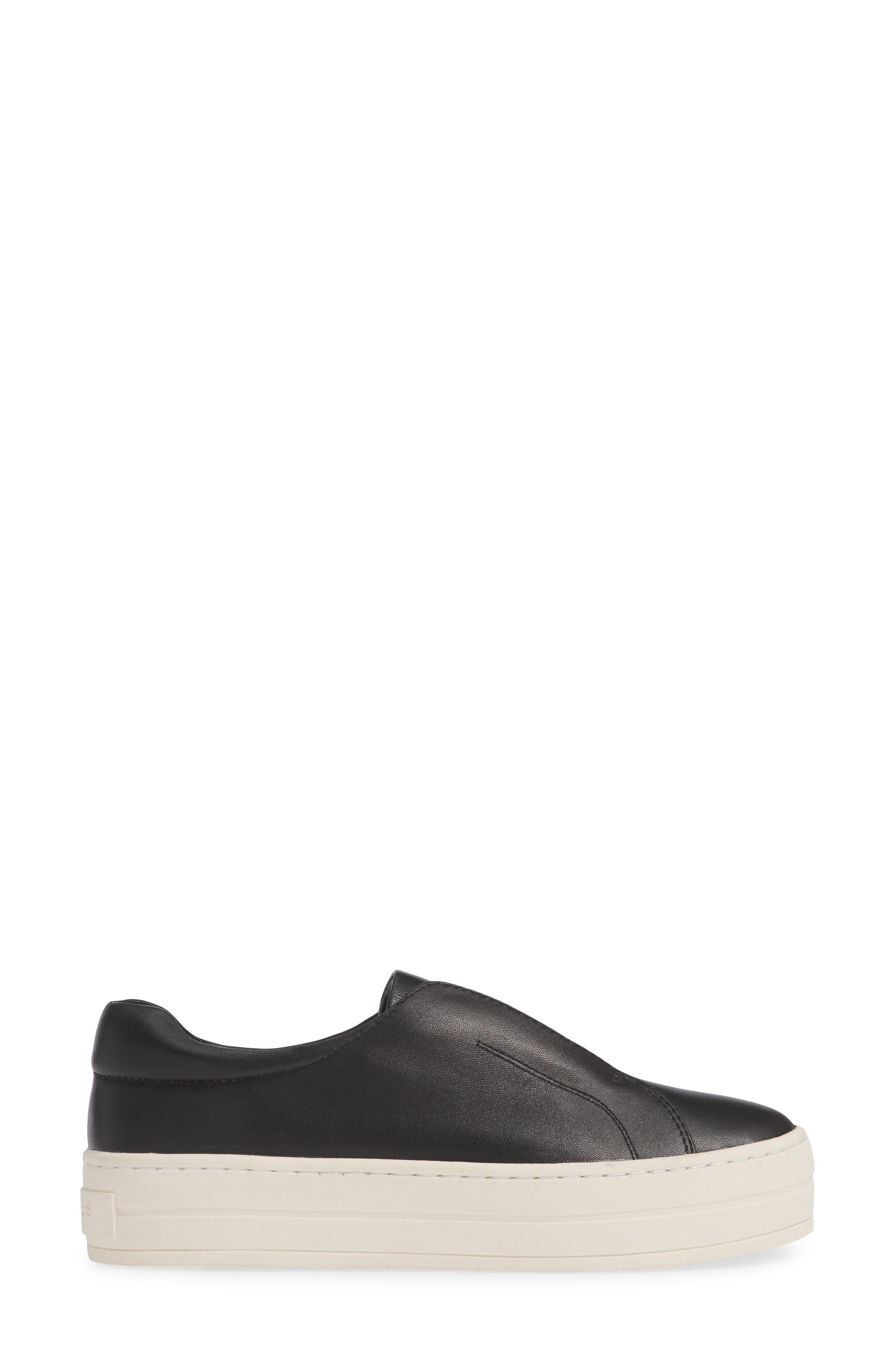 JSLIDES,                             Heidi Platform Slip-On Sneaker,                             Alternate thumbnail 3, color,                             BLACK LEATHER