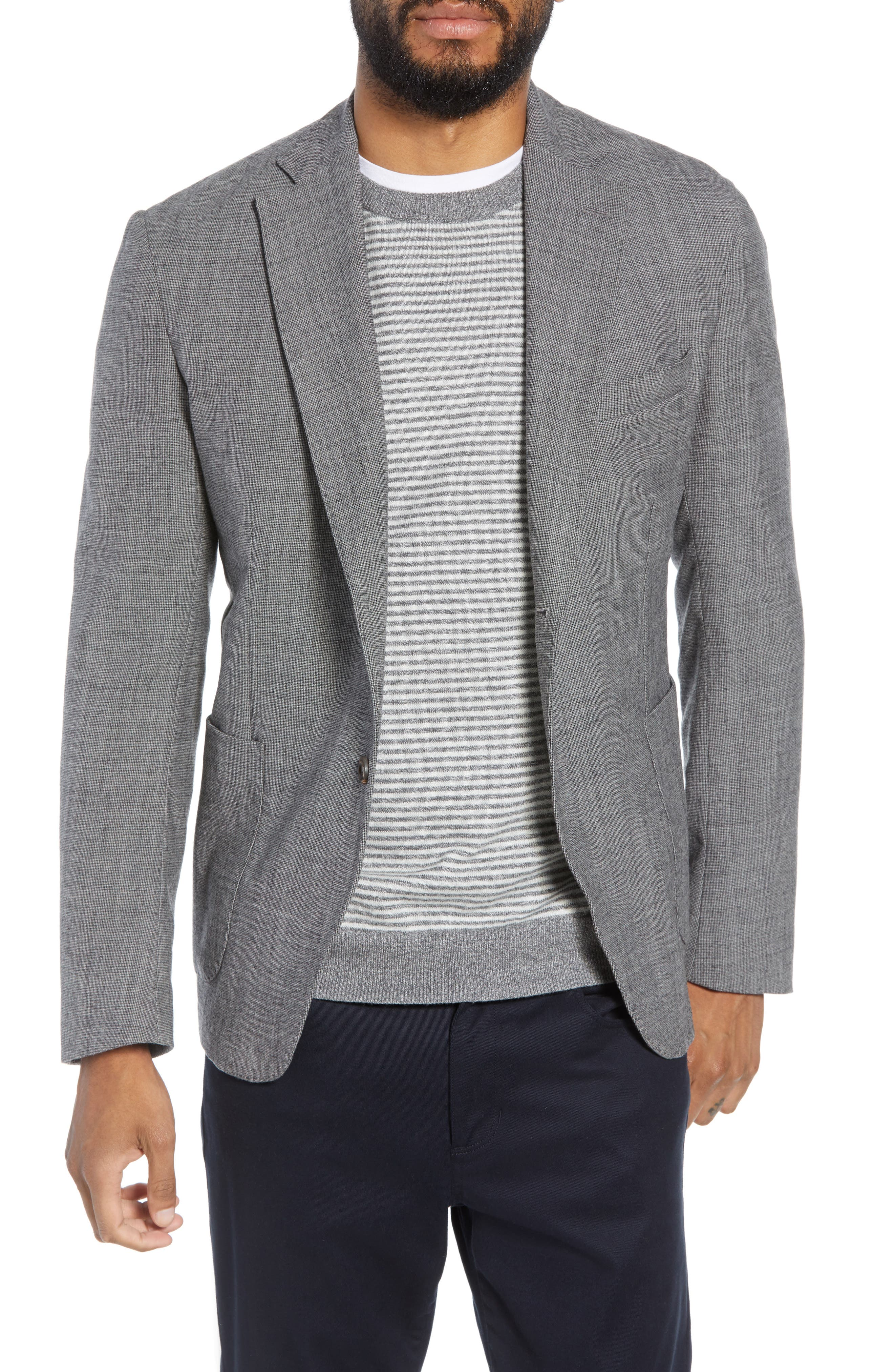 Trim Fit Stretch Check Wool Sport Coat,                             Main thumbnail 1, color,                             GREY