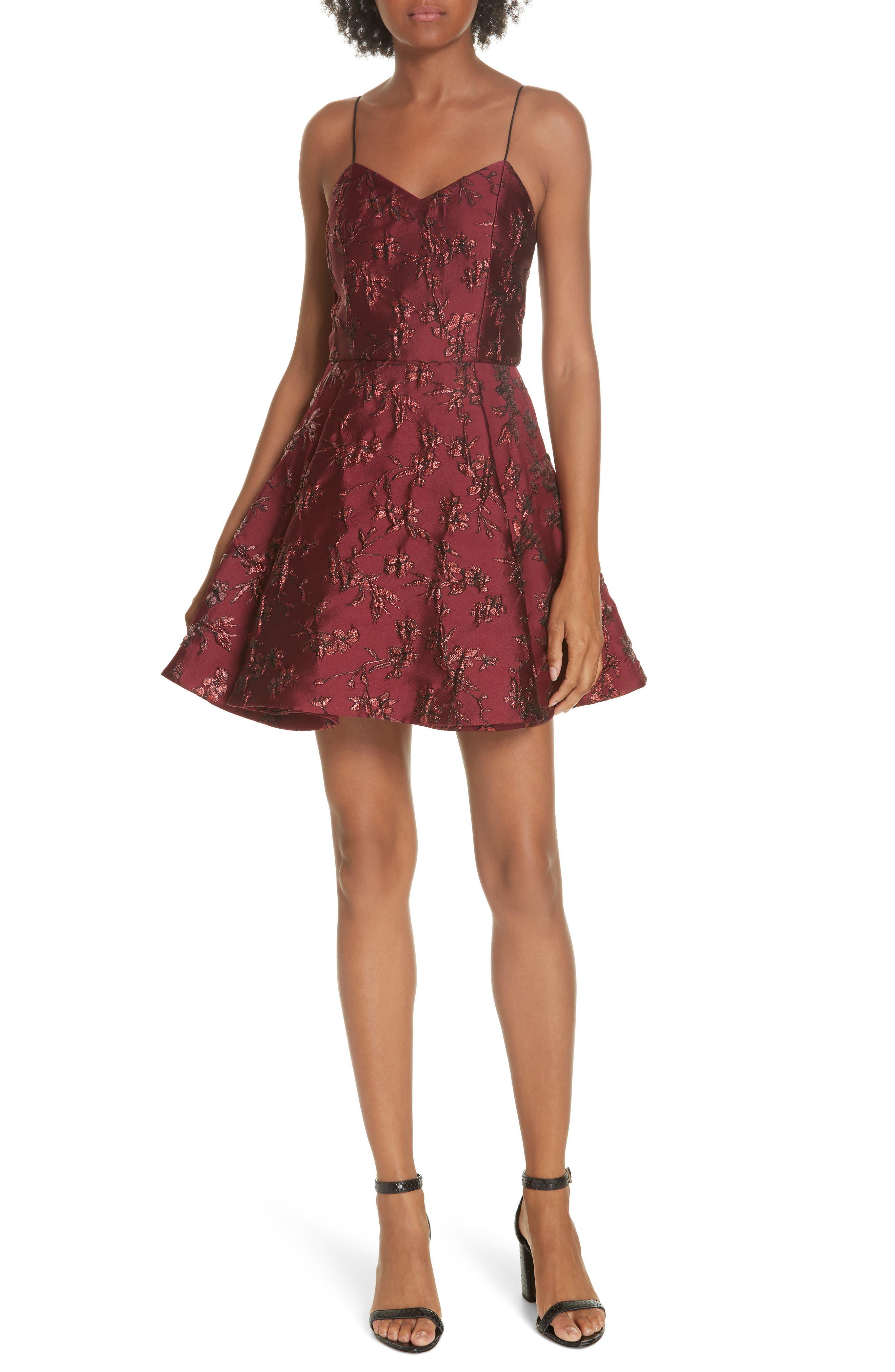 Anette Fit & Flare Party Dress,                             Main thumbnail 1, color,                             BORDEAUX