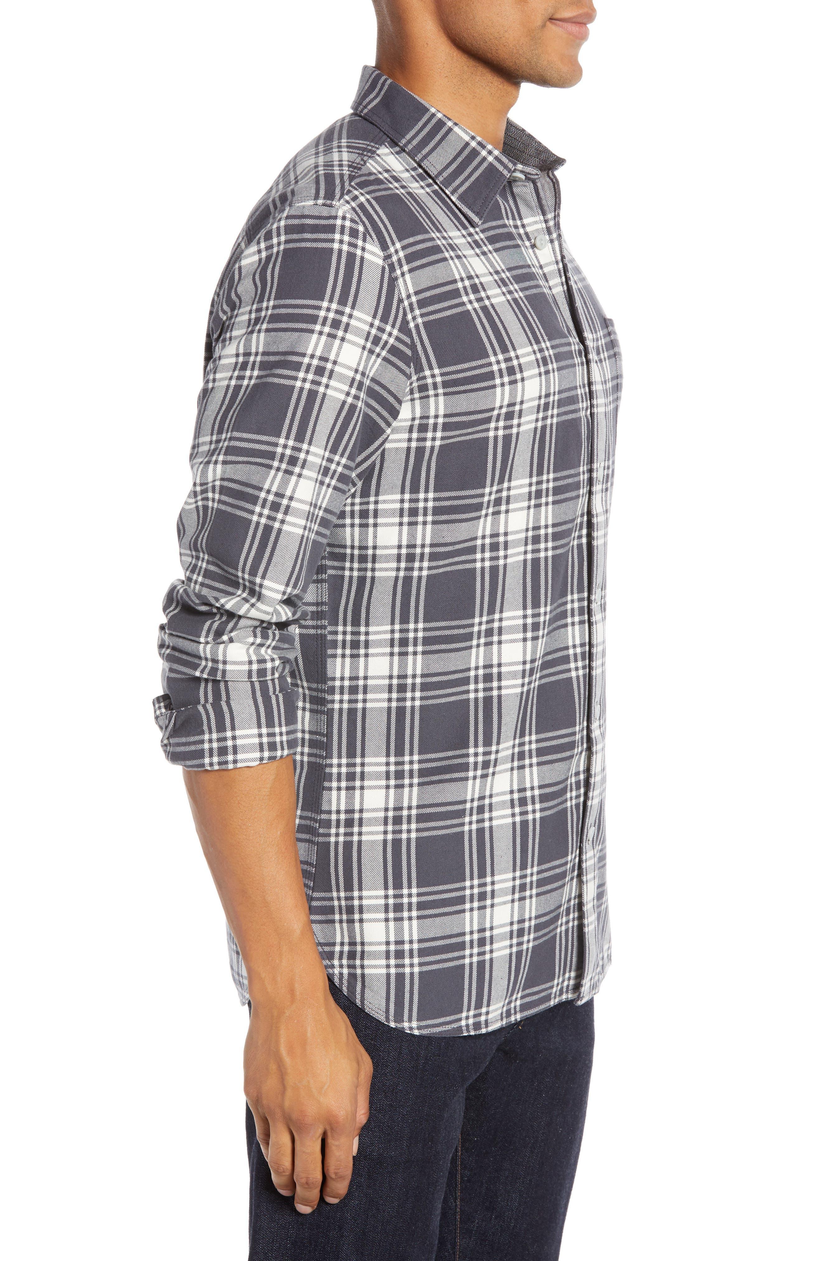 Plaid Utility Long Sleeve Trim Fit Sport Shirt,                             Alternate thumbnail 3, color,                             GREY CASTLEROCK PLAID