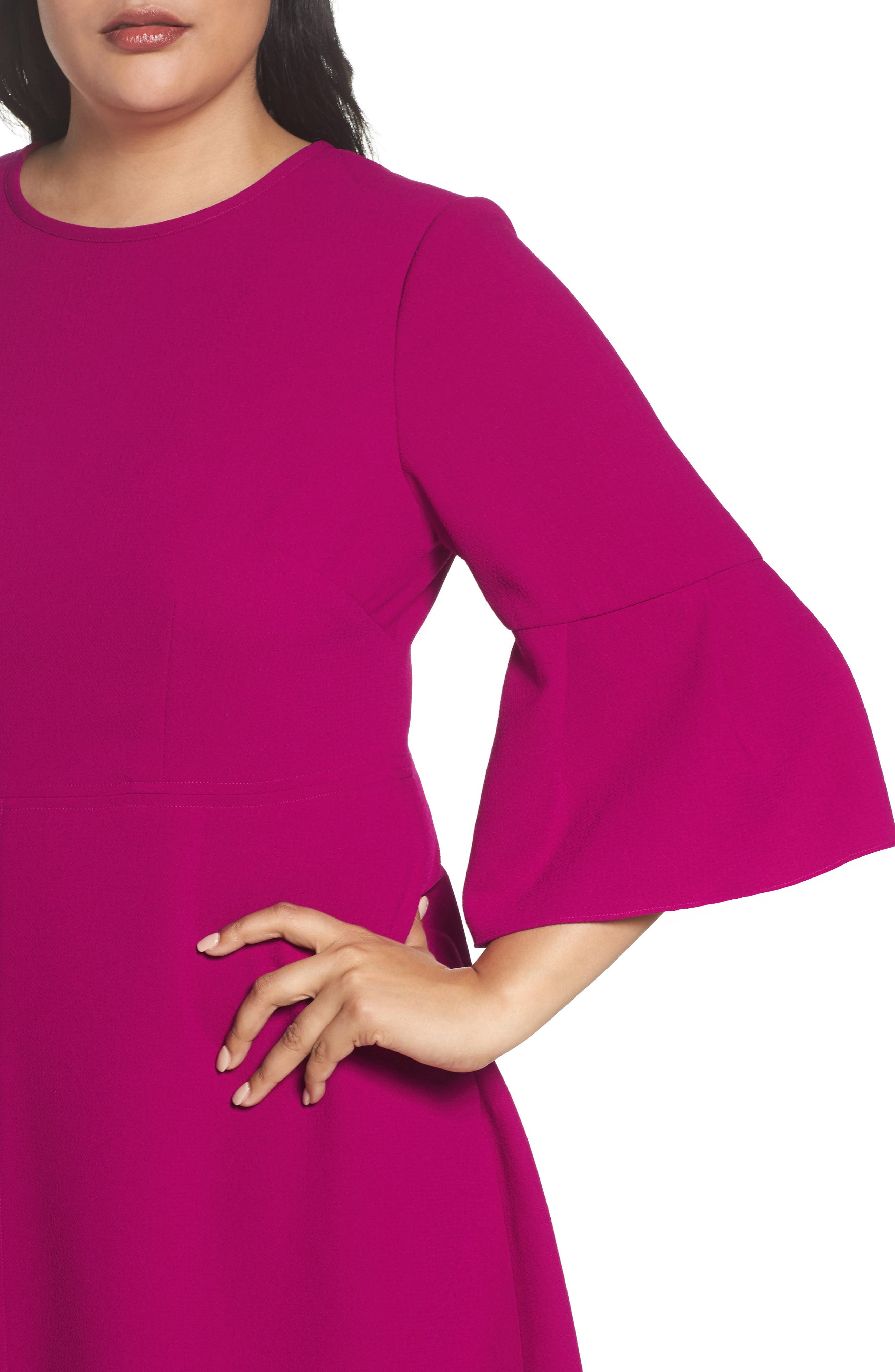 Bell Sleeve Fit & Flare Dress,                             Alternate thumbnail 4, color,                             678