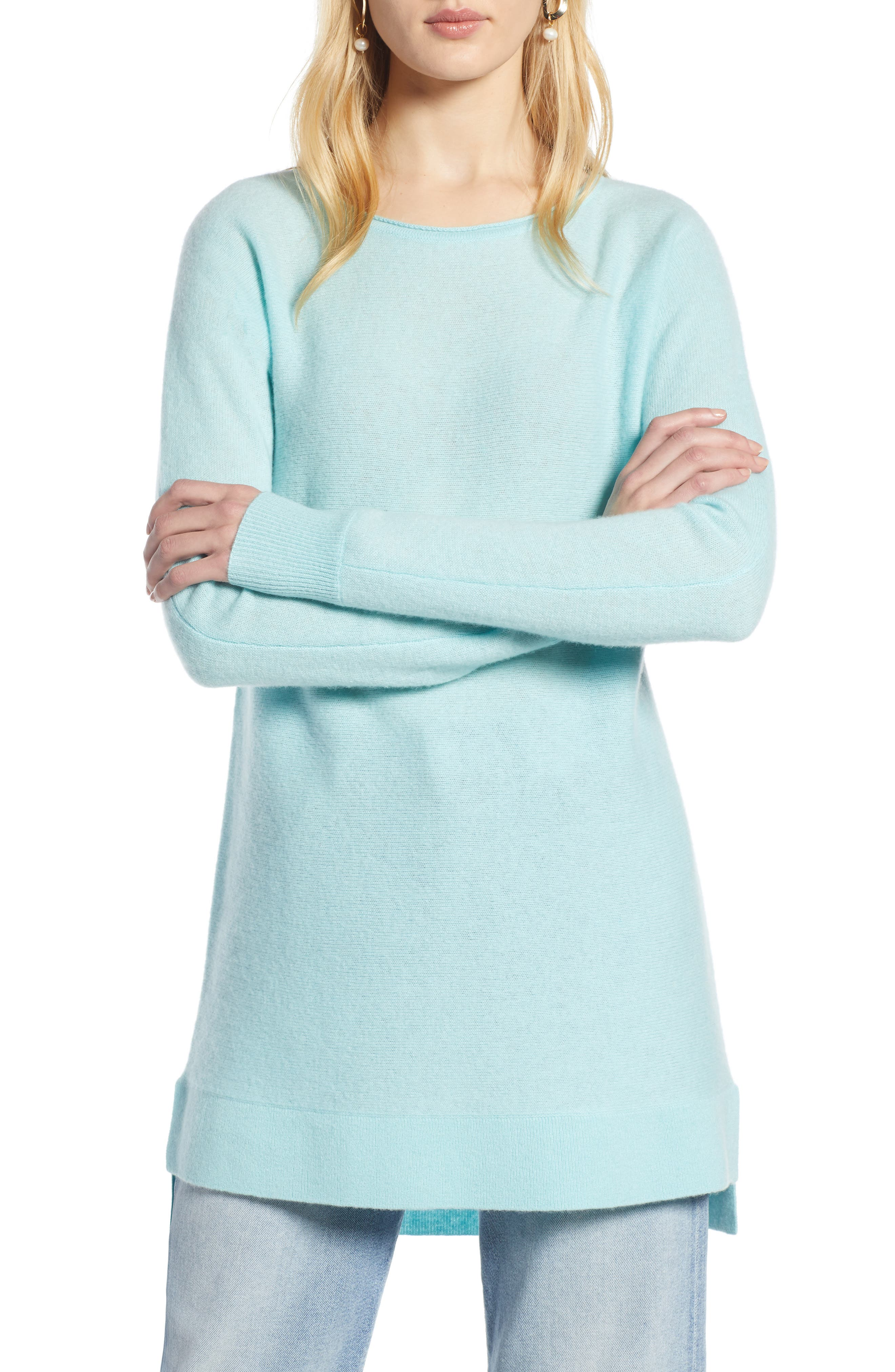 Halogen High/low Wool & Cashmere Tunic Sweater, Blue