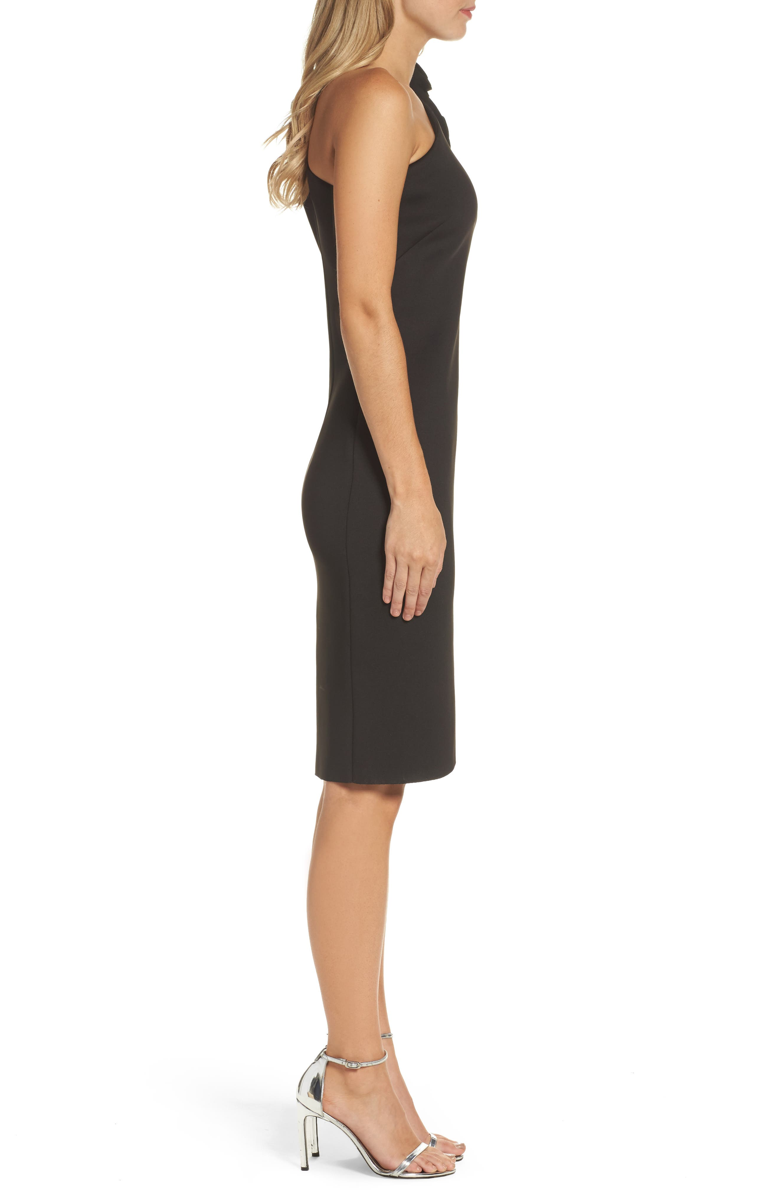 One-Shoulder Sheath Dress,                             Alternate thumbnail 3, color,                             BLACK