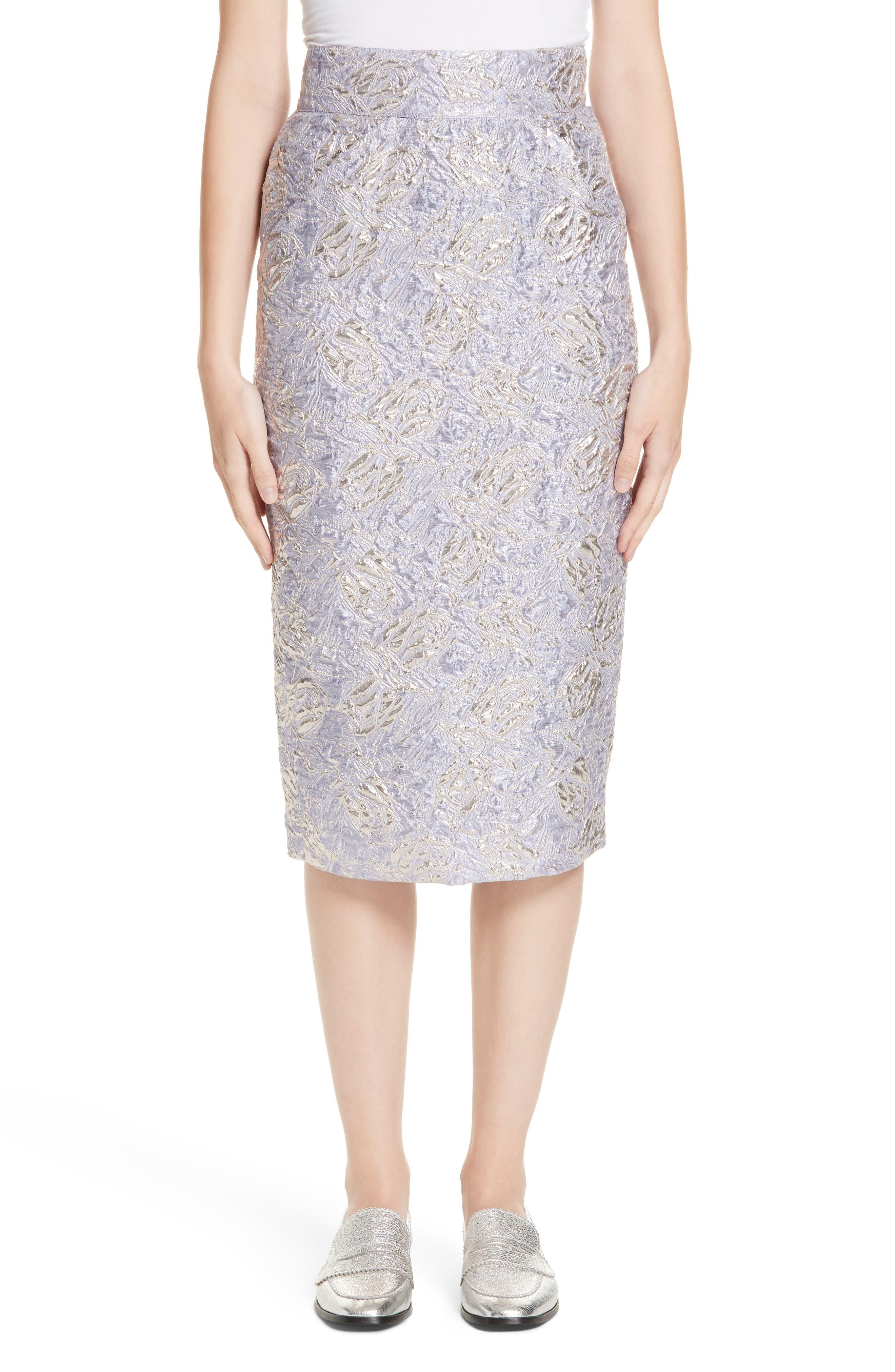 ROSEANNA Lauren Brocade Pencil Skirt in Lilas
