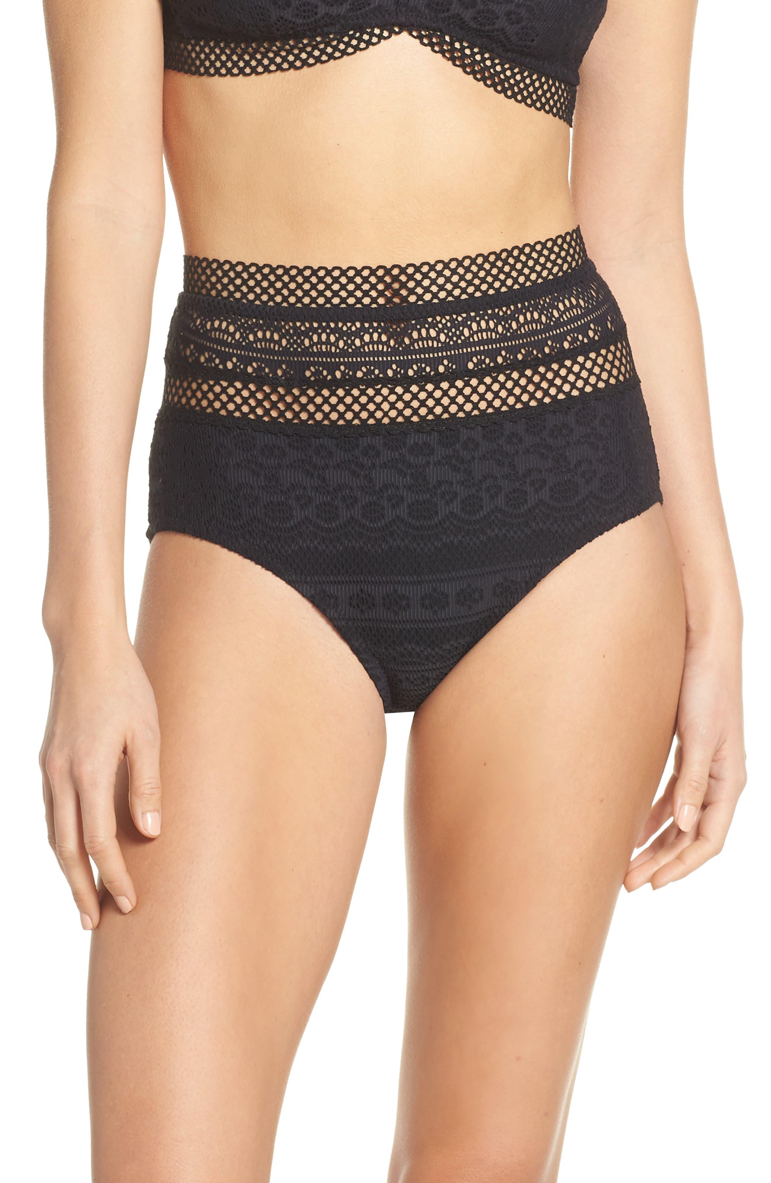 Becca Captured High Waist Bikini Bottoms, Black
