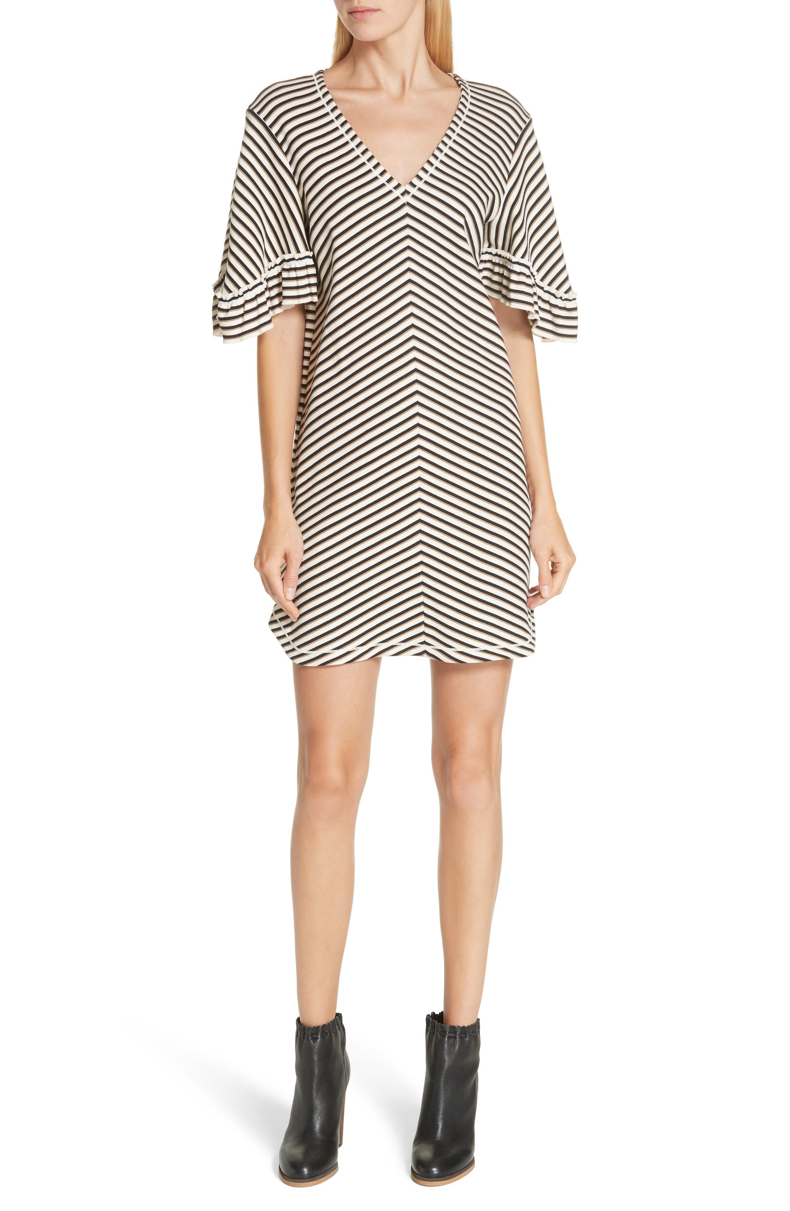 See By Chloe Stripe Ruffle Sleeve Shift Dress, White