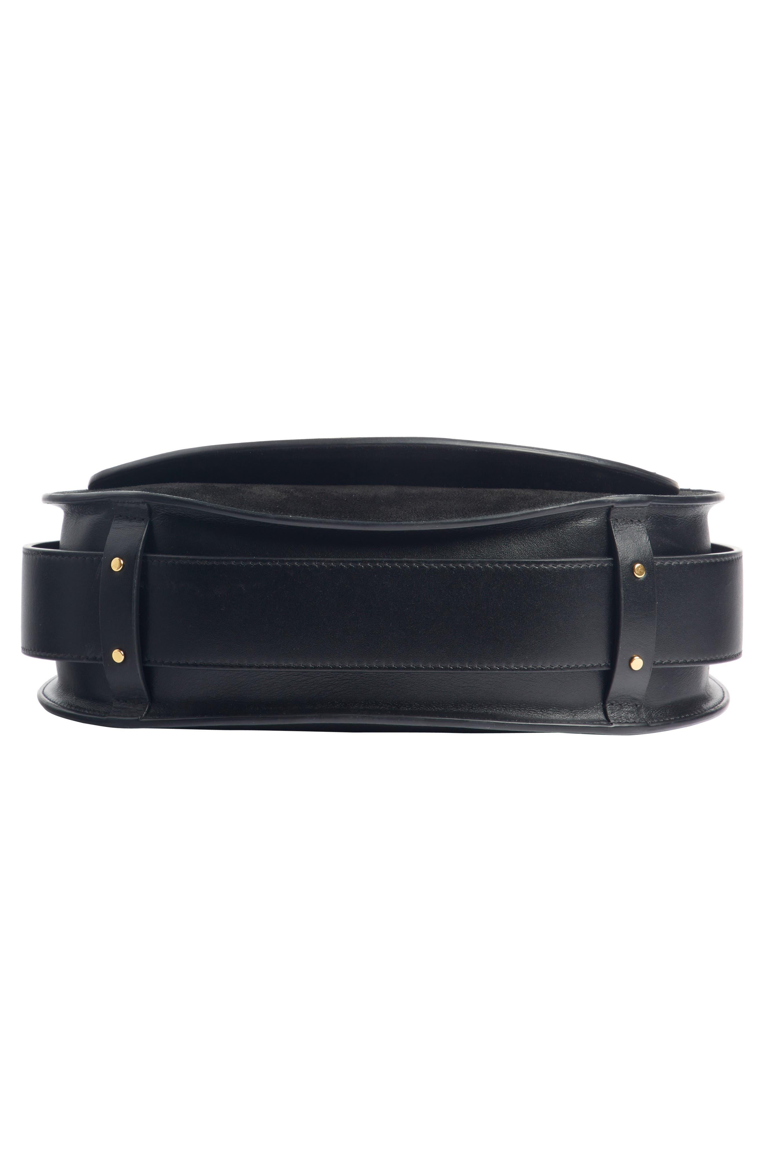 CHLOÉ,                             Medium Tess Calfskin Leather Shoulder Bag,                             Alternate thumbnail 5, color,                             BLACK