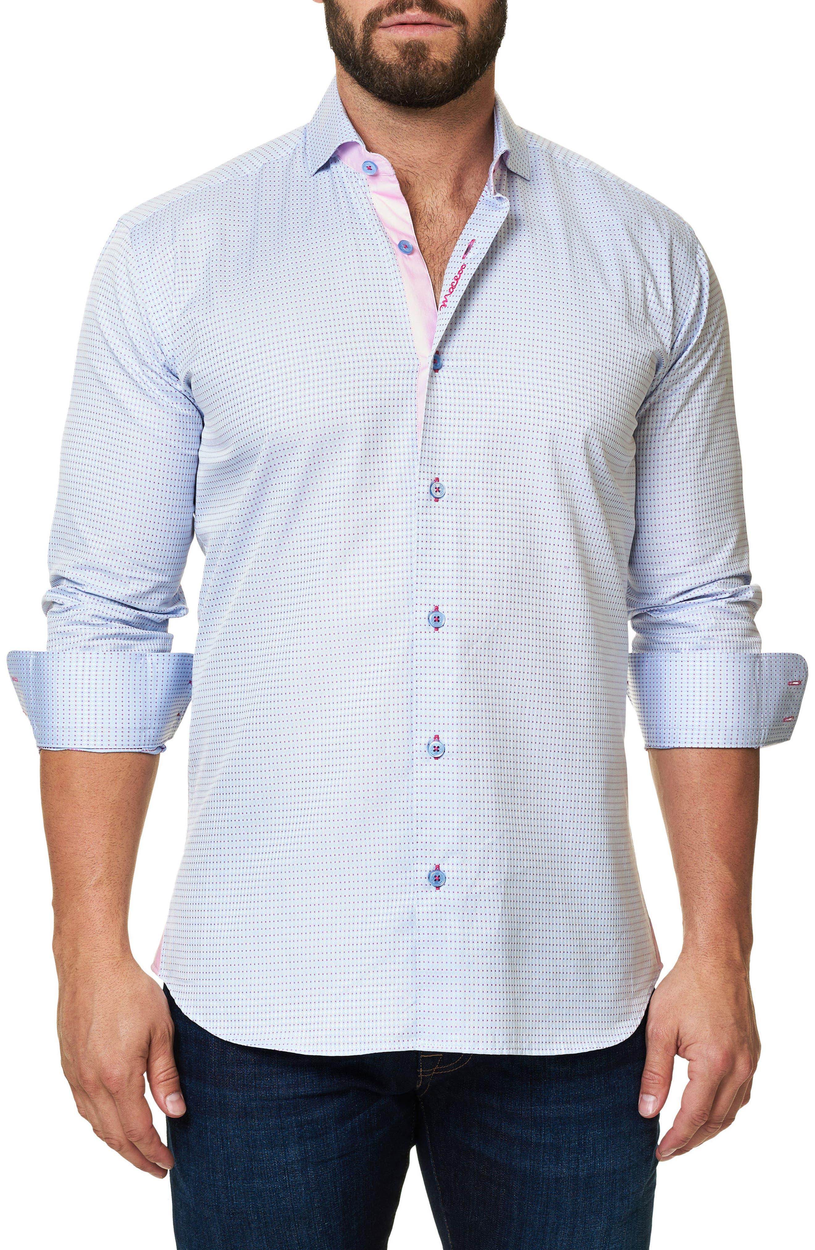Trim Fit Dot Print Sport Shirt,                             Main thumbnail 1, color,                             420