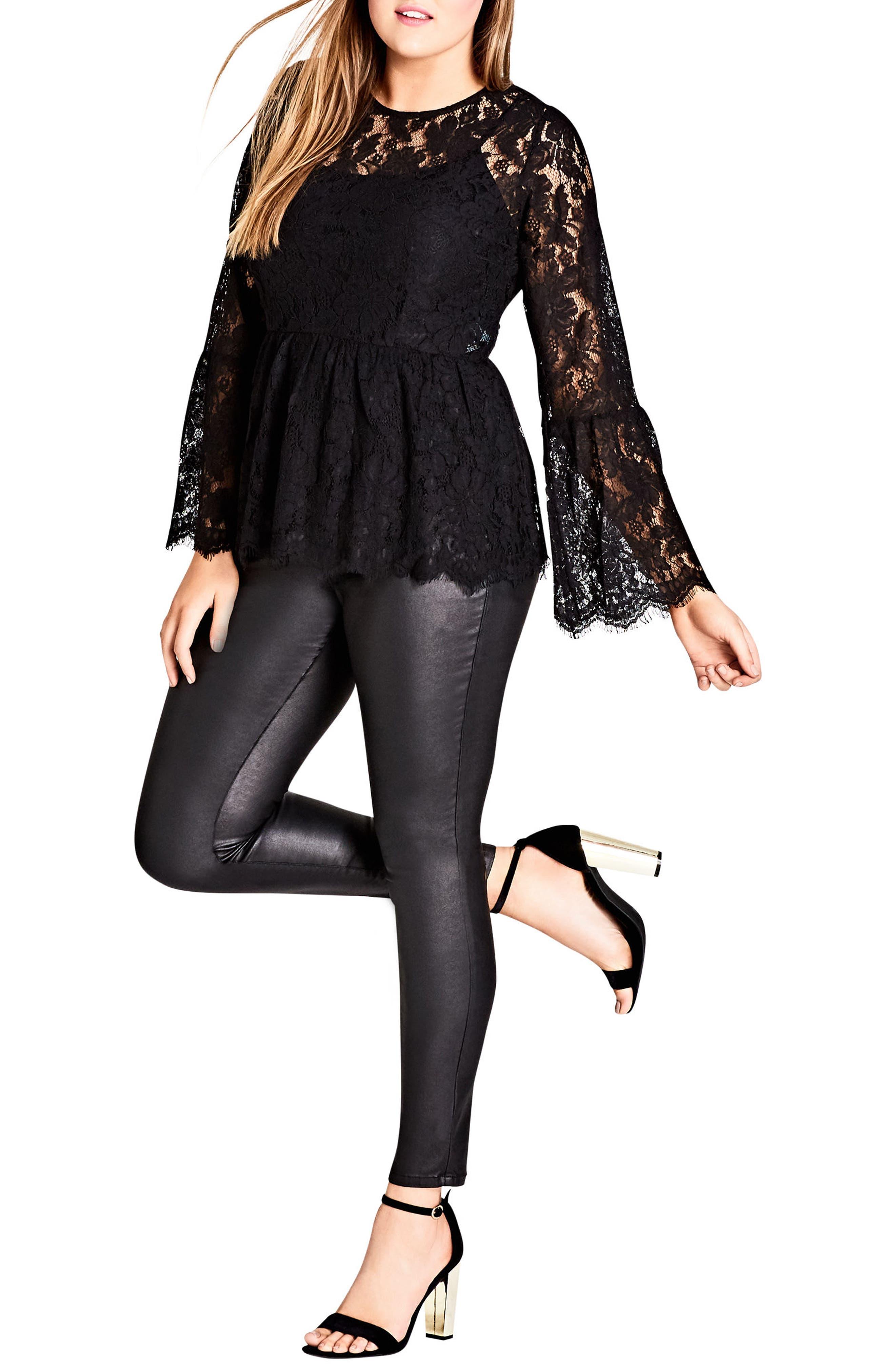 Divine Lace Top,                         Main,                         color, BLACK