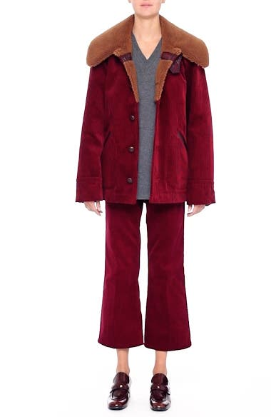 Corduroy Coat with Faux Shearling Collar, video thumbnail