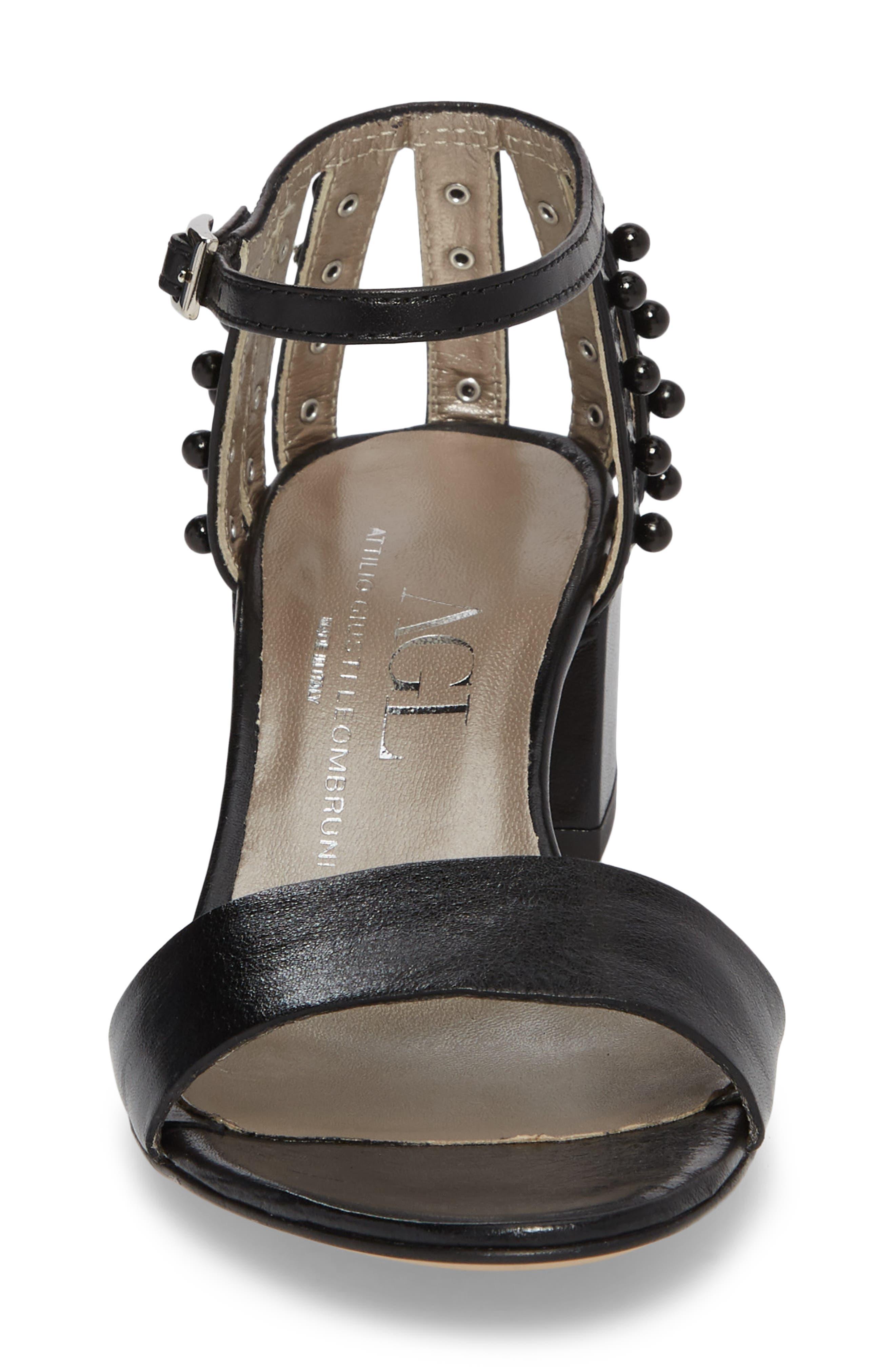 Embellished Ankle Strap Sandal,                             Alternate thumbnail 4, color,                             001