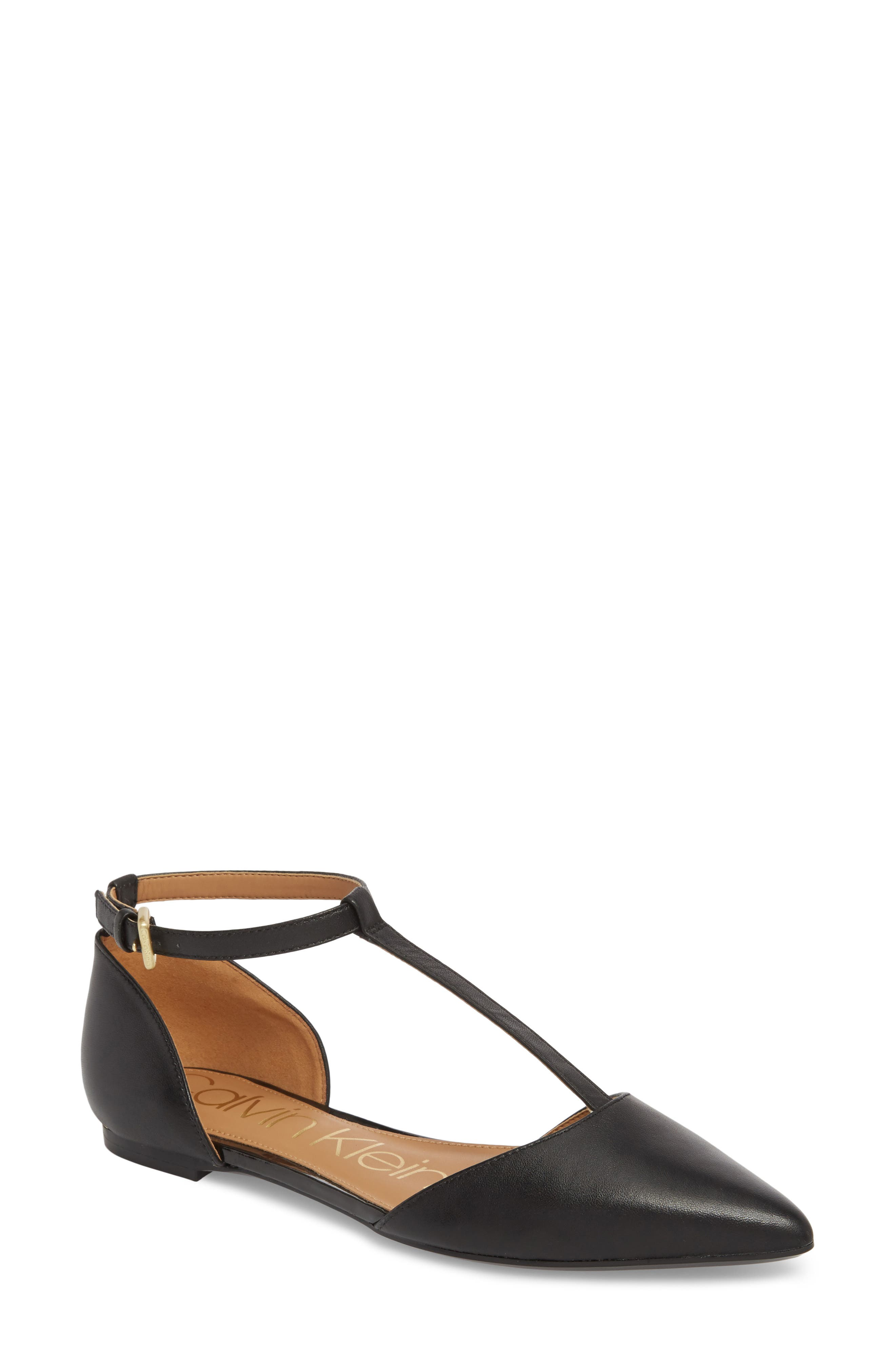 'Ghita' T-Strap Flat,                         Main,                         color, BLACK LEATHER