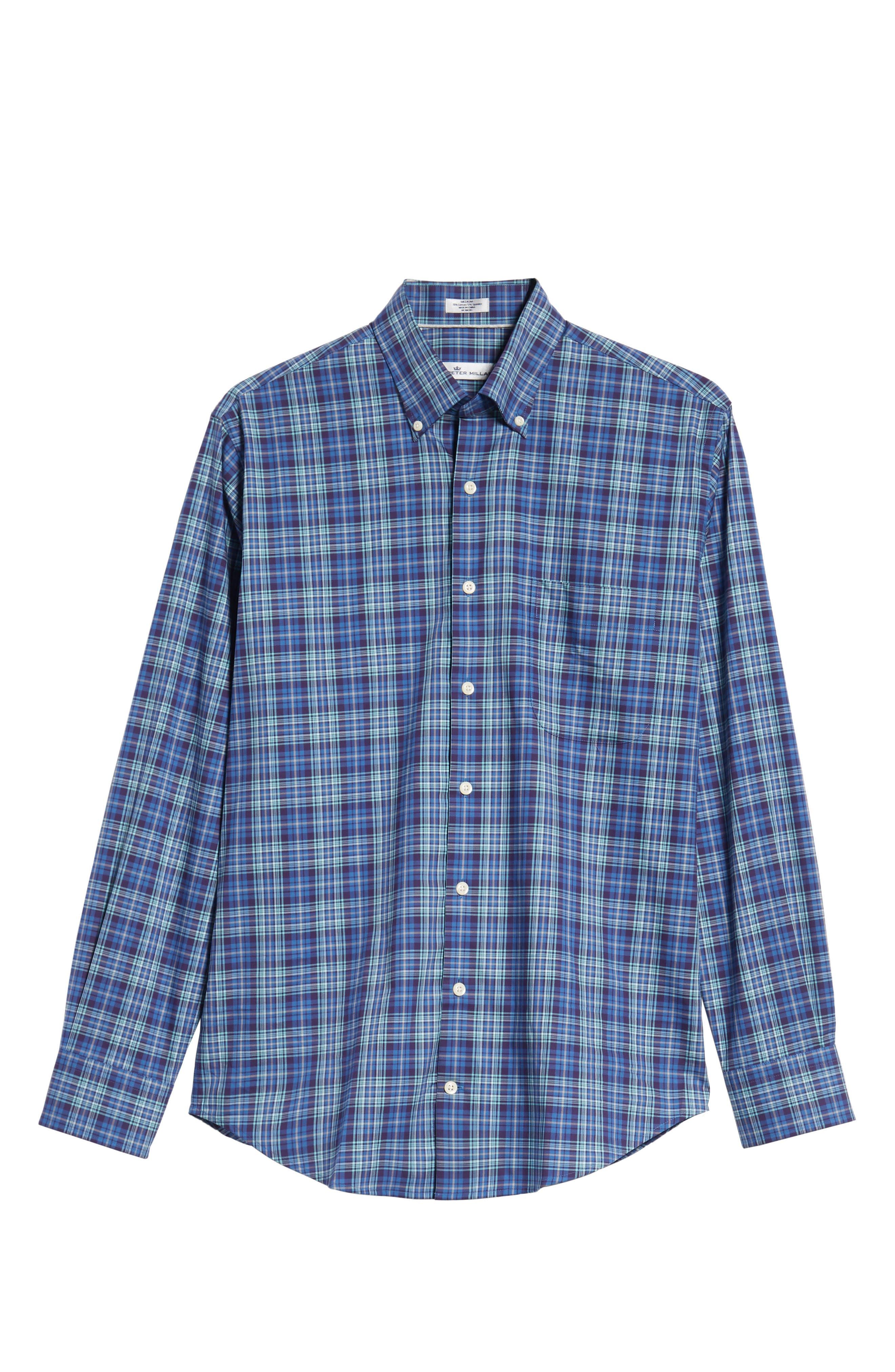 Crown Ease Flatey Island Regular Fit Tartan Plaid Sport Shirt,                             Alternate thumbnail 5, color,                             BLUE