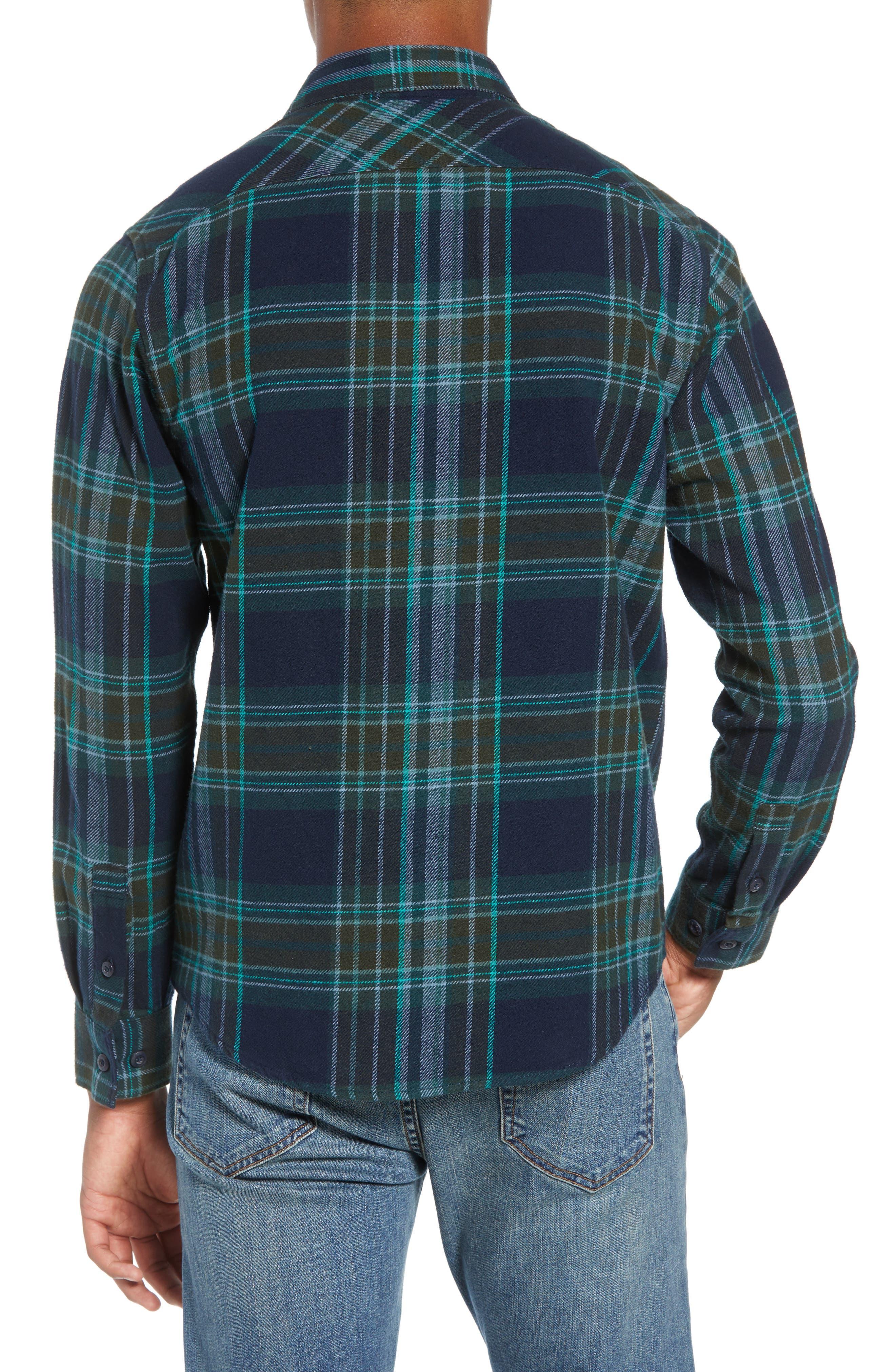 Ludlow Plaid Flannel Shirt,                             Alternate thumbnail 3, color,                             NEW NAVY