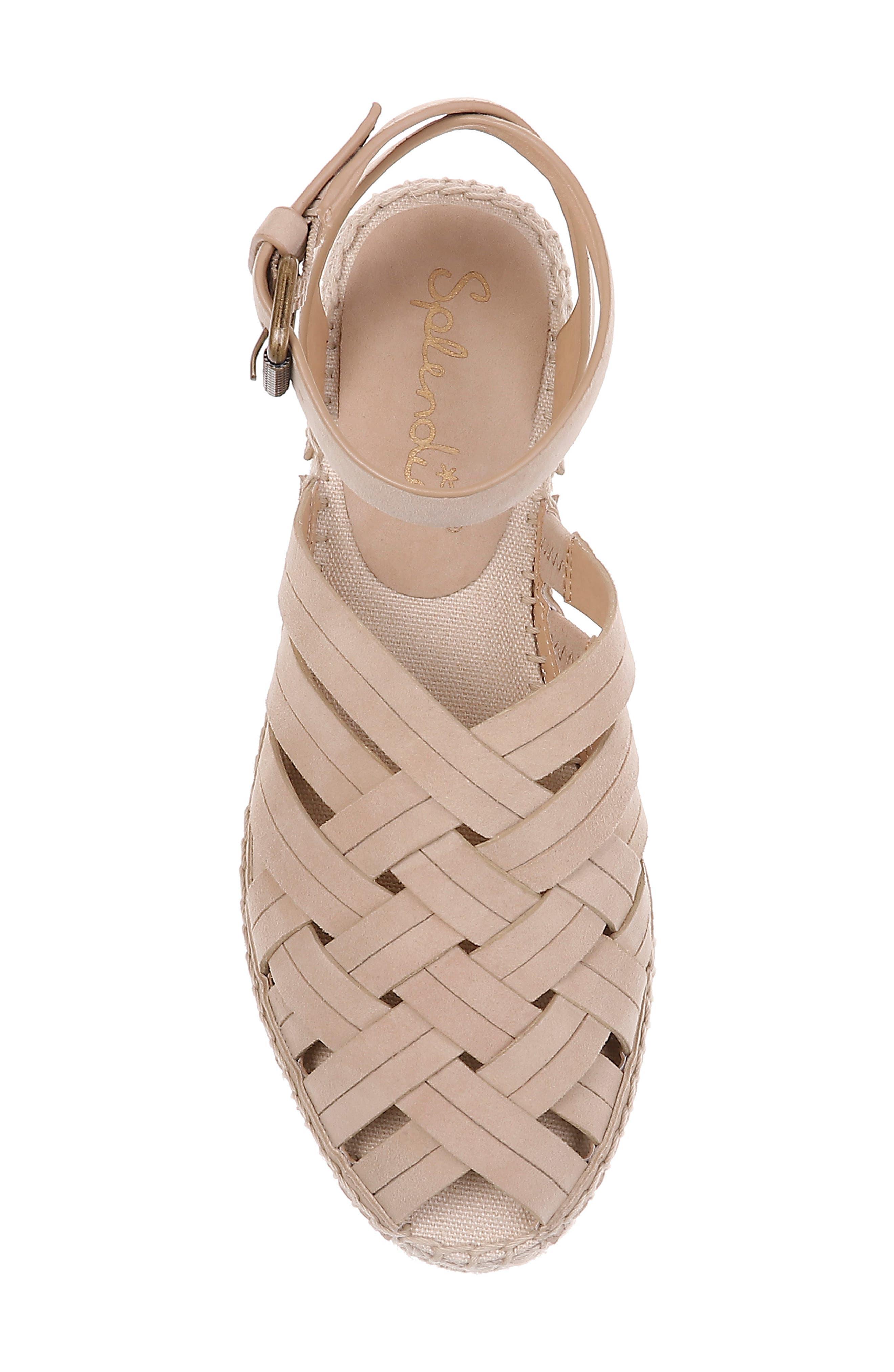 Sheryl Espadrille Ankle Strap Sandal,                             Alternate thumbnail 5, color,                             MUSHROOM SUEDE