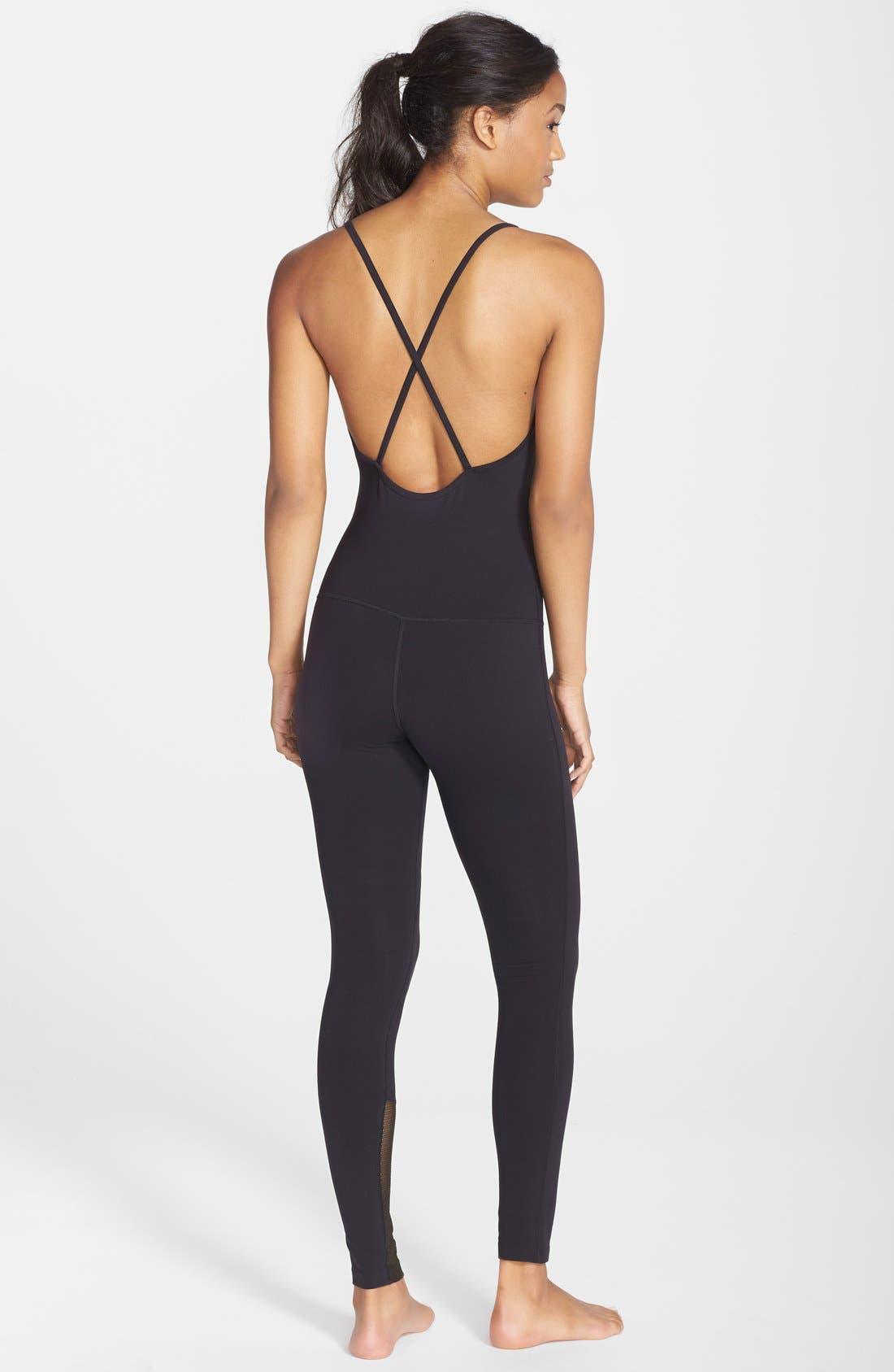 'Bianca Noir' Full Length Bodysuit,                             Alternate thumbnail 2, color,                             001