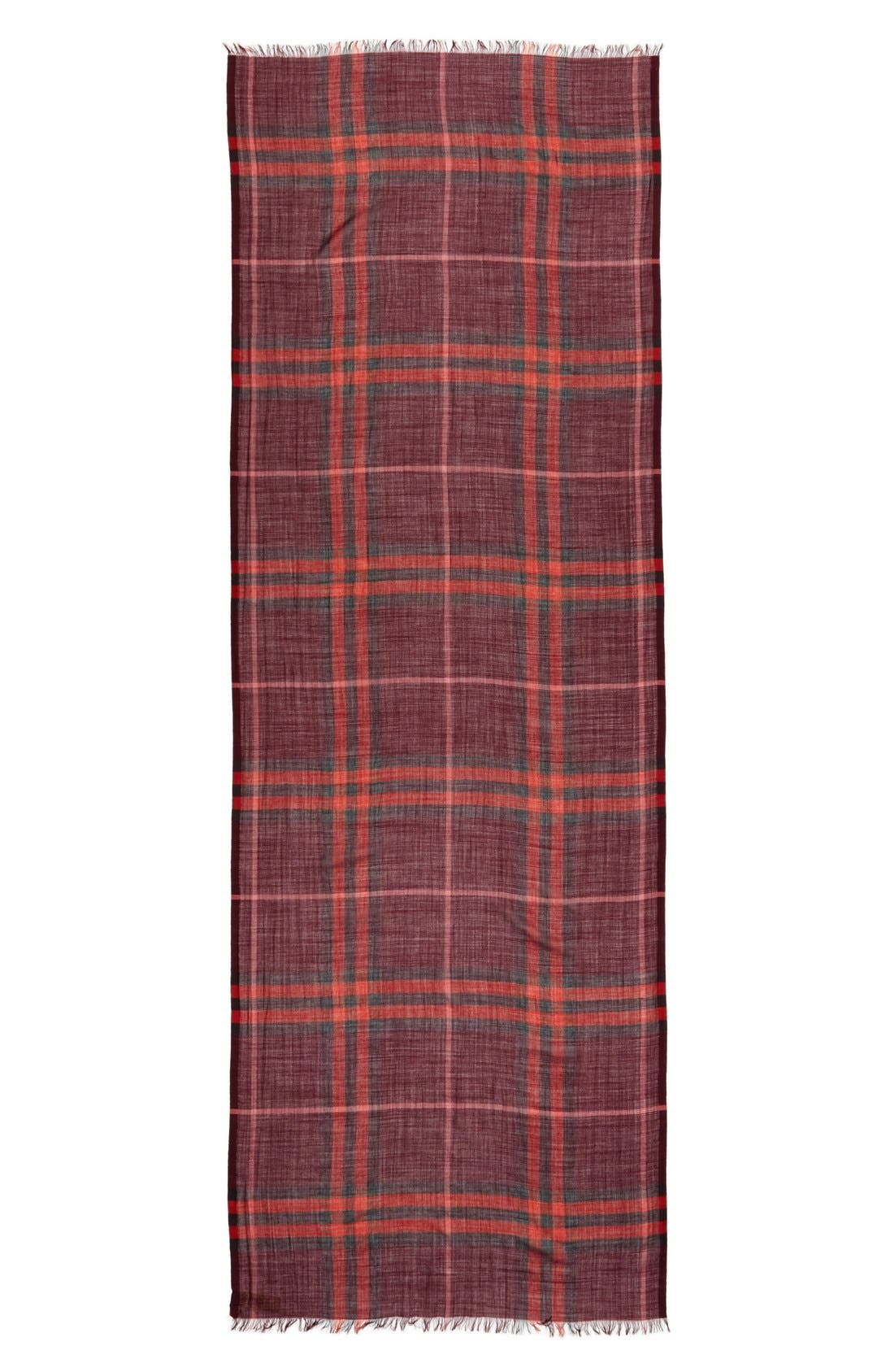 Giant Check Print Wool & Silk Scarf,                             Alternate thumbnail 108, color,