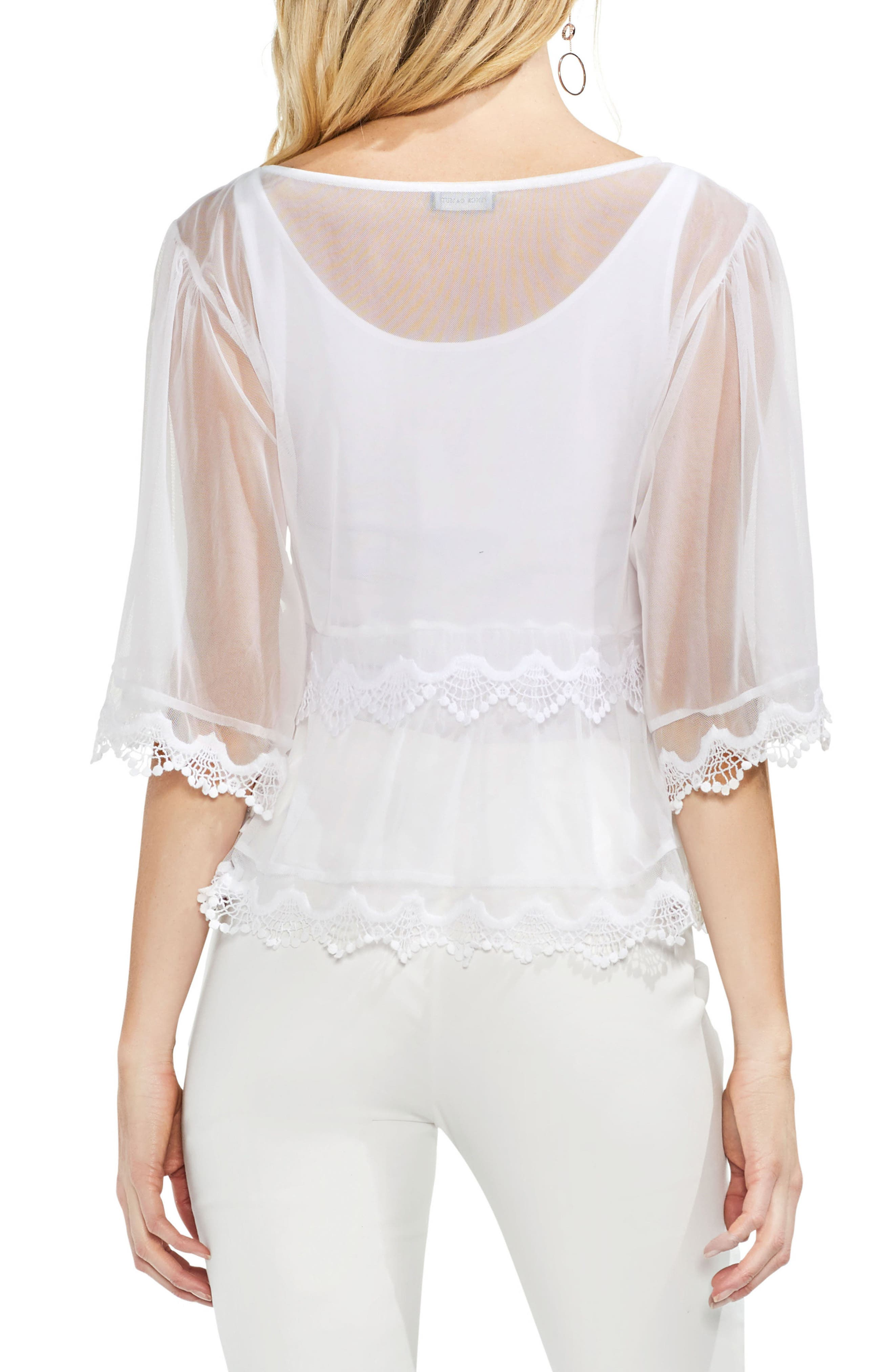 Bell Sleeve Embroidered Mesh Top,                             Alternate thumbnail 2, color,                             145
