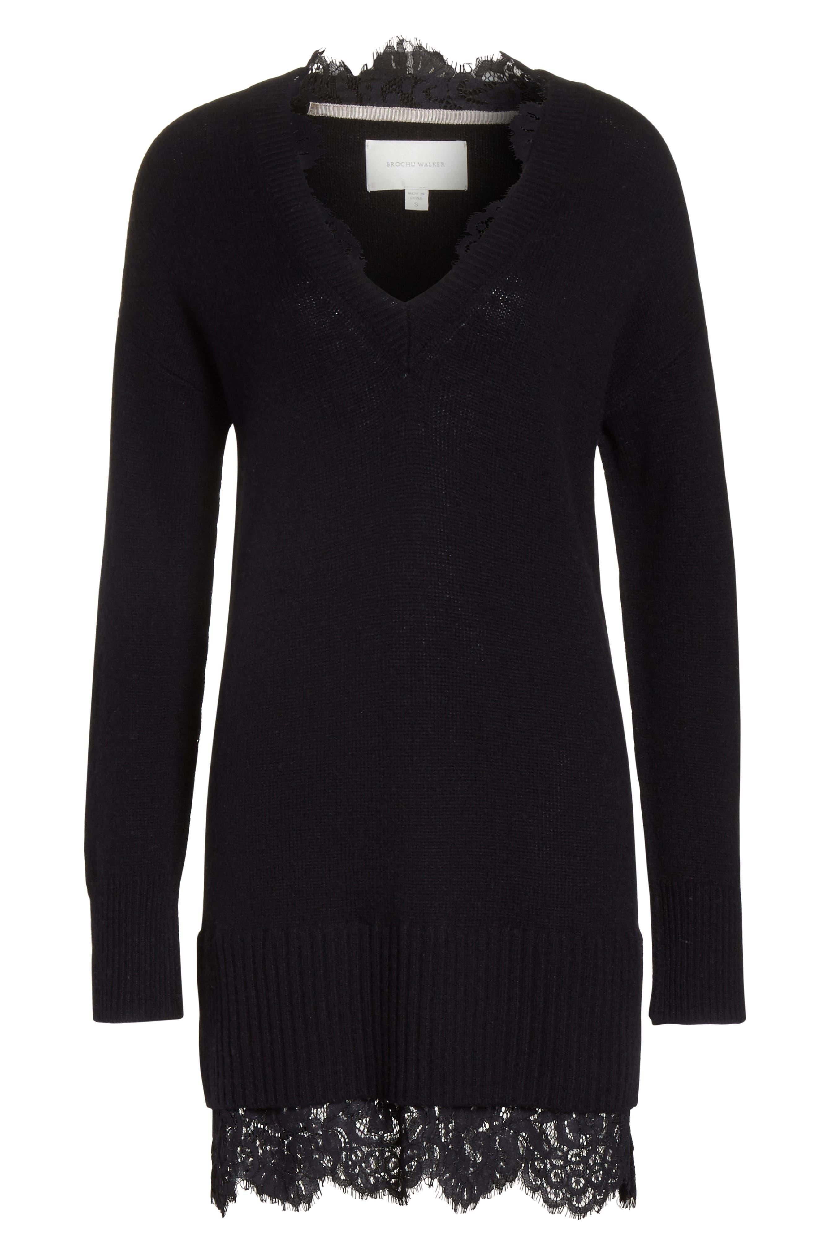 BROCHU WALKER,                             Lace Looker Sweater Dress,                             Alternate thumbnail 6, color,                             001